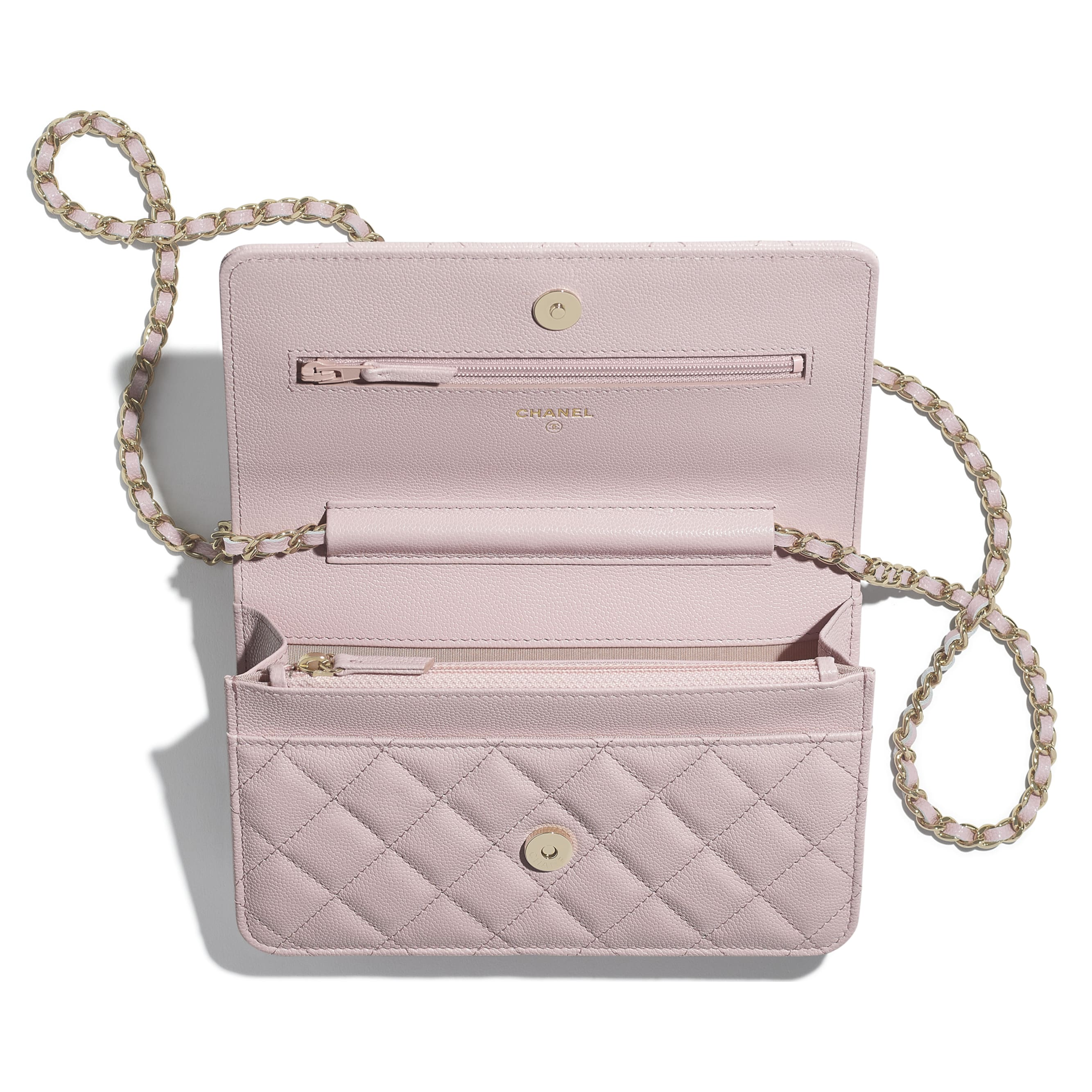 Wallet On Chain - Light Pink - Grained Calfskin & Gold-Tone Metal - CHANEL - Alternative view - see standard sized version