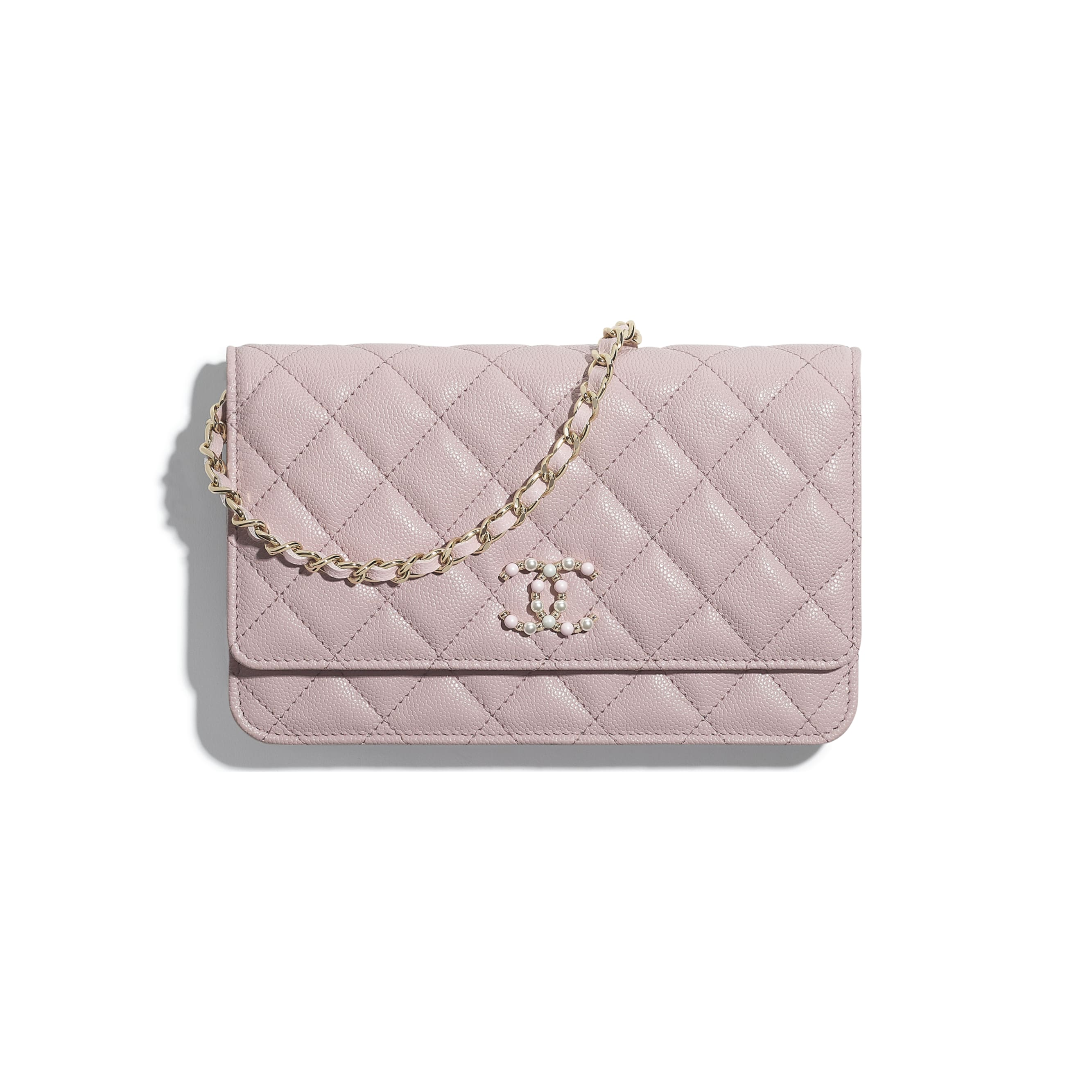 Wallet On Chain - Light Pink - Grained Calfskin & Gold-Tone Metal - CHANEL - Default view - see standard sized version