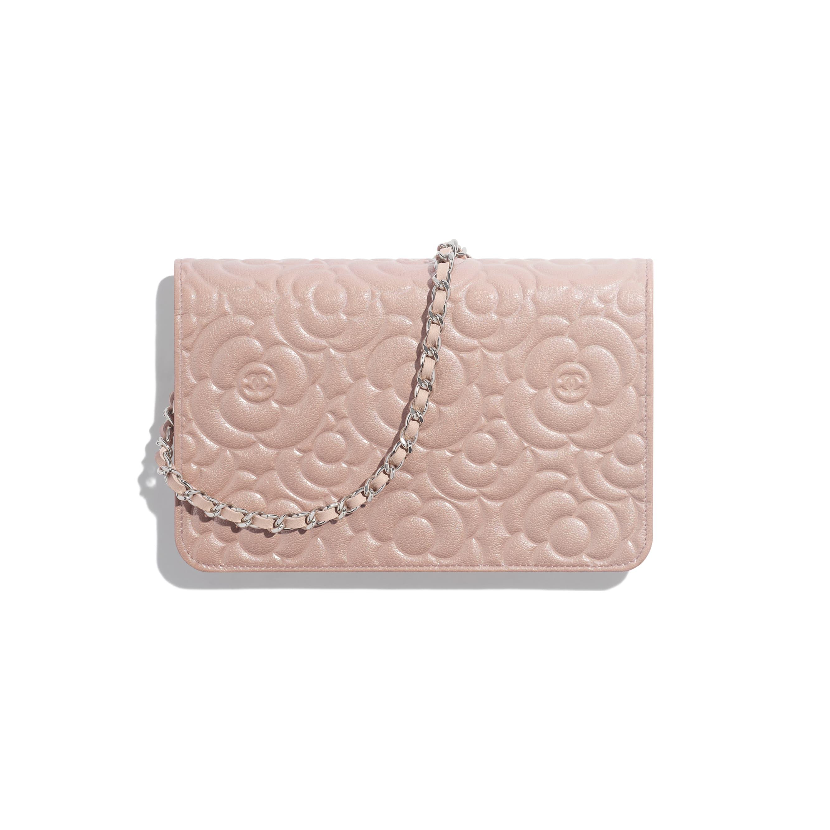 Wallet on Chain - Light Pink - Satin Finish Goatskin & Silver-Tone Metal - Alternative view - see standard sized version