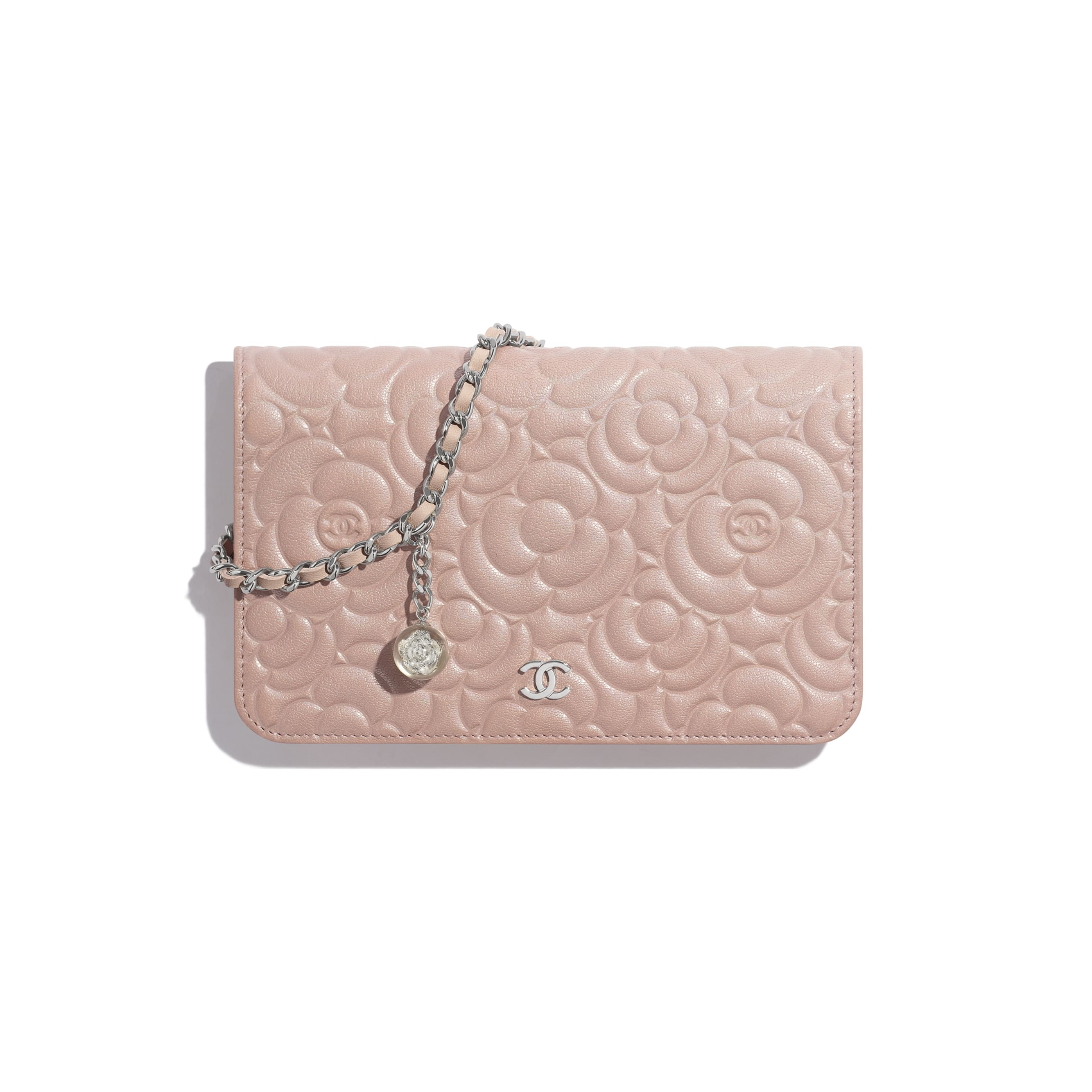 Wallet on Chain - Light Pink - Satin Finish Goatskin & Silver-Tone Metal - Default view - see standard sized version