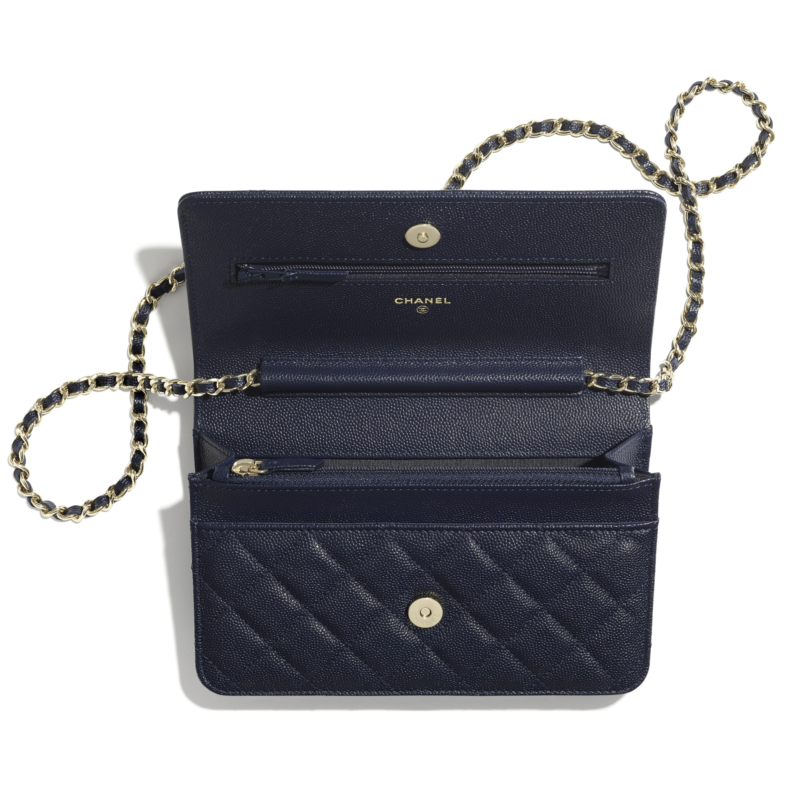 Wallet On Chain - Navy Blue - Grained Calfskin & Laquered Gold-Tone Metal - CHANEL - Alternative view - see standard sized version