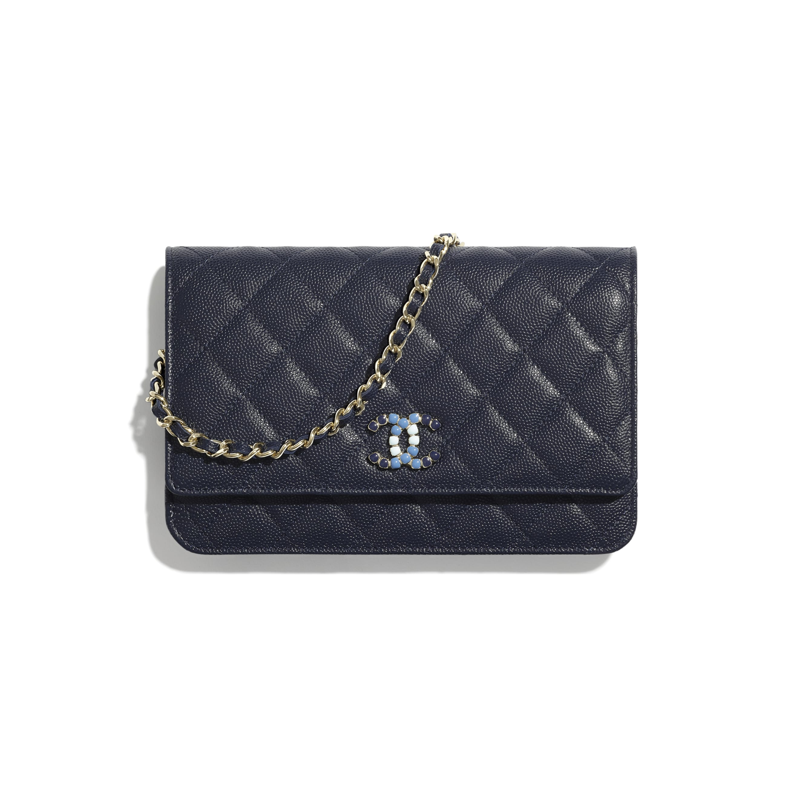 Wallet On Chain - Navy Blue - Grained Calfskin & Laquered Gold-Tone Metal - CHANEL - Default view - see standard sized version