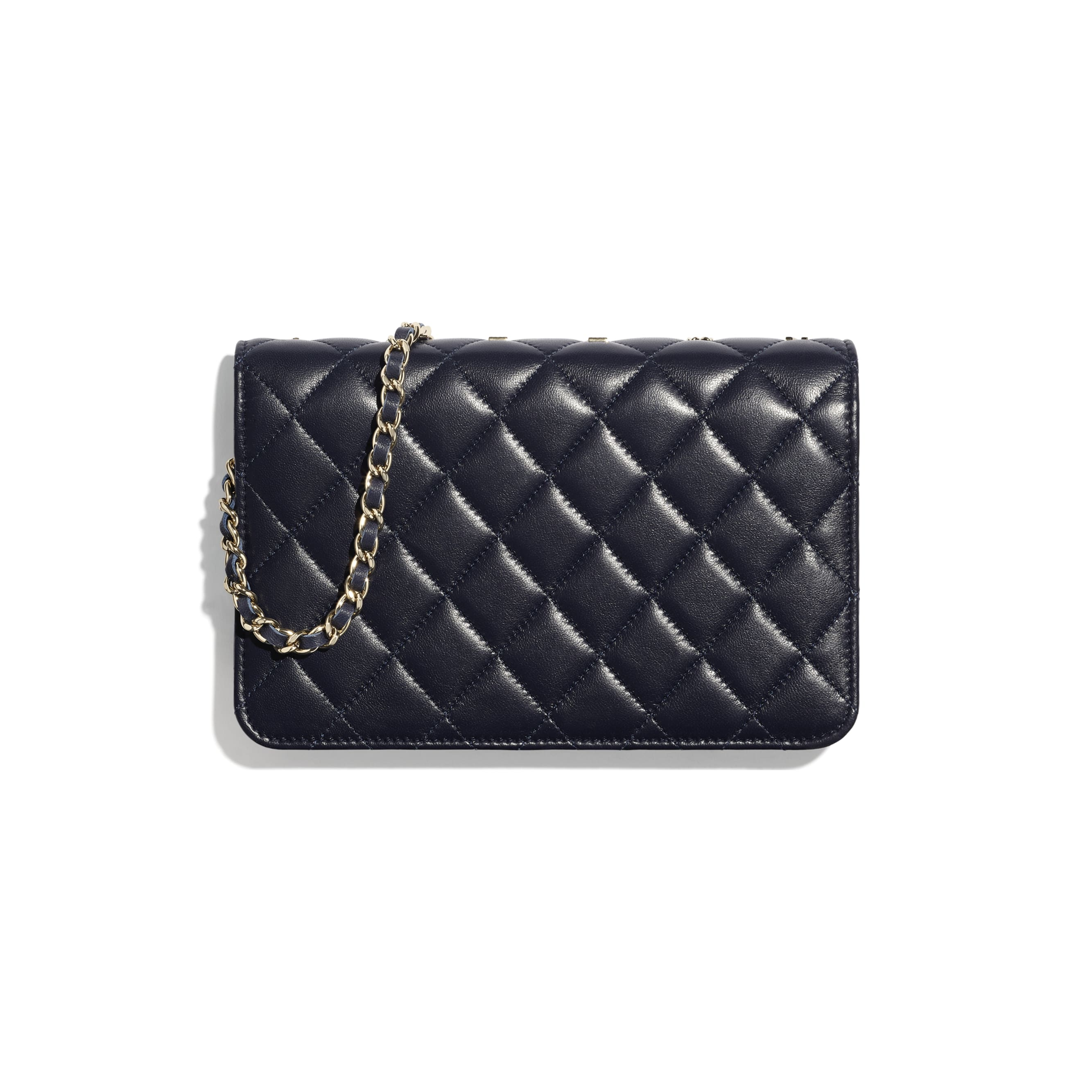 Wallet On Chain - Navy Blue - Lambskin, Charms & Gold-Tone Metal - CHANEL - Alternative view - see standard sized version