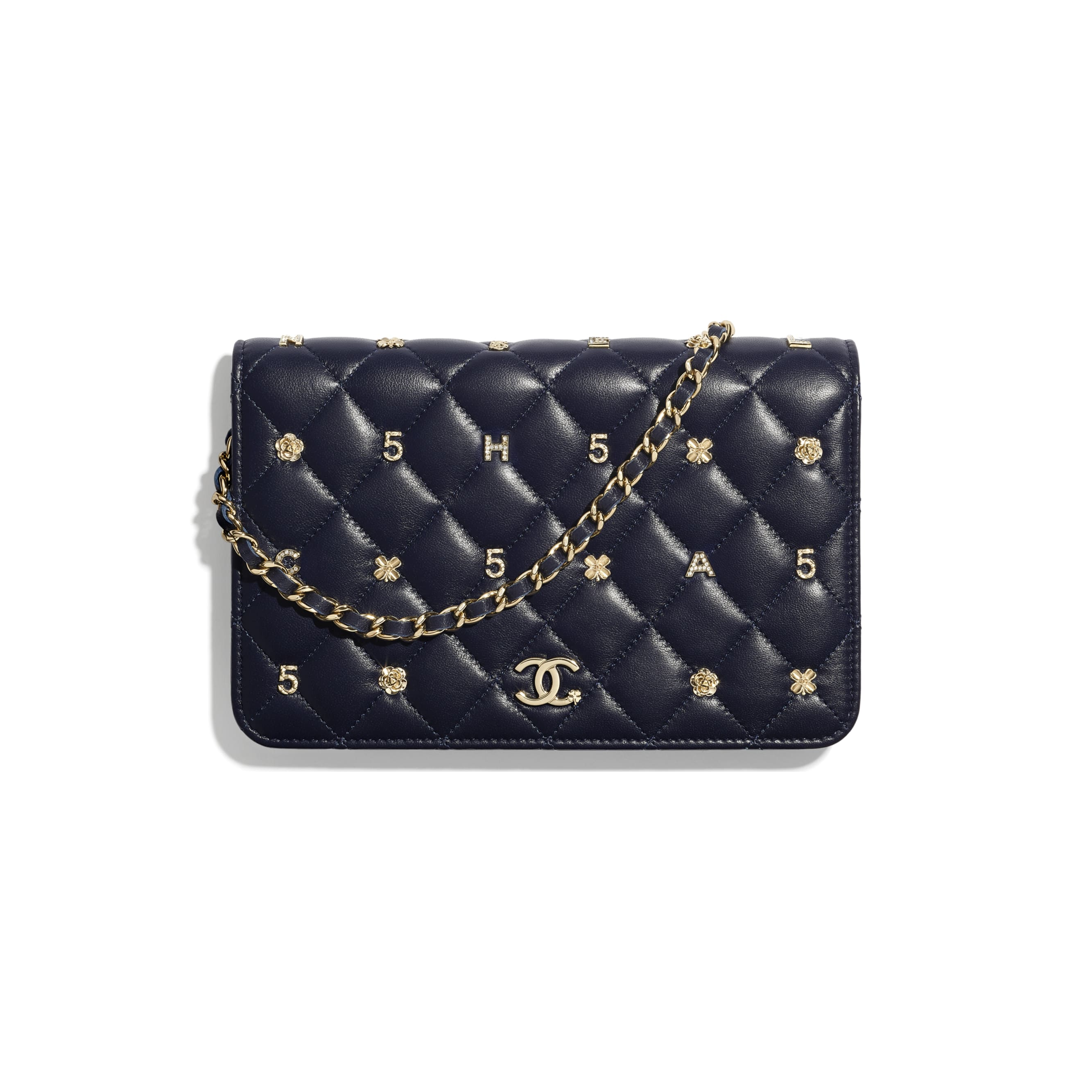 Wallet On Chain - Navy Blue - Lambskin, Charms & Gold-Tone Metal - CHANEL - Default view - see standard sized version
