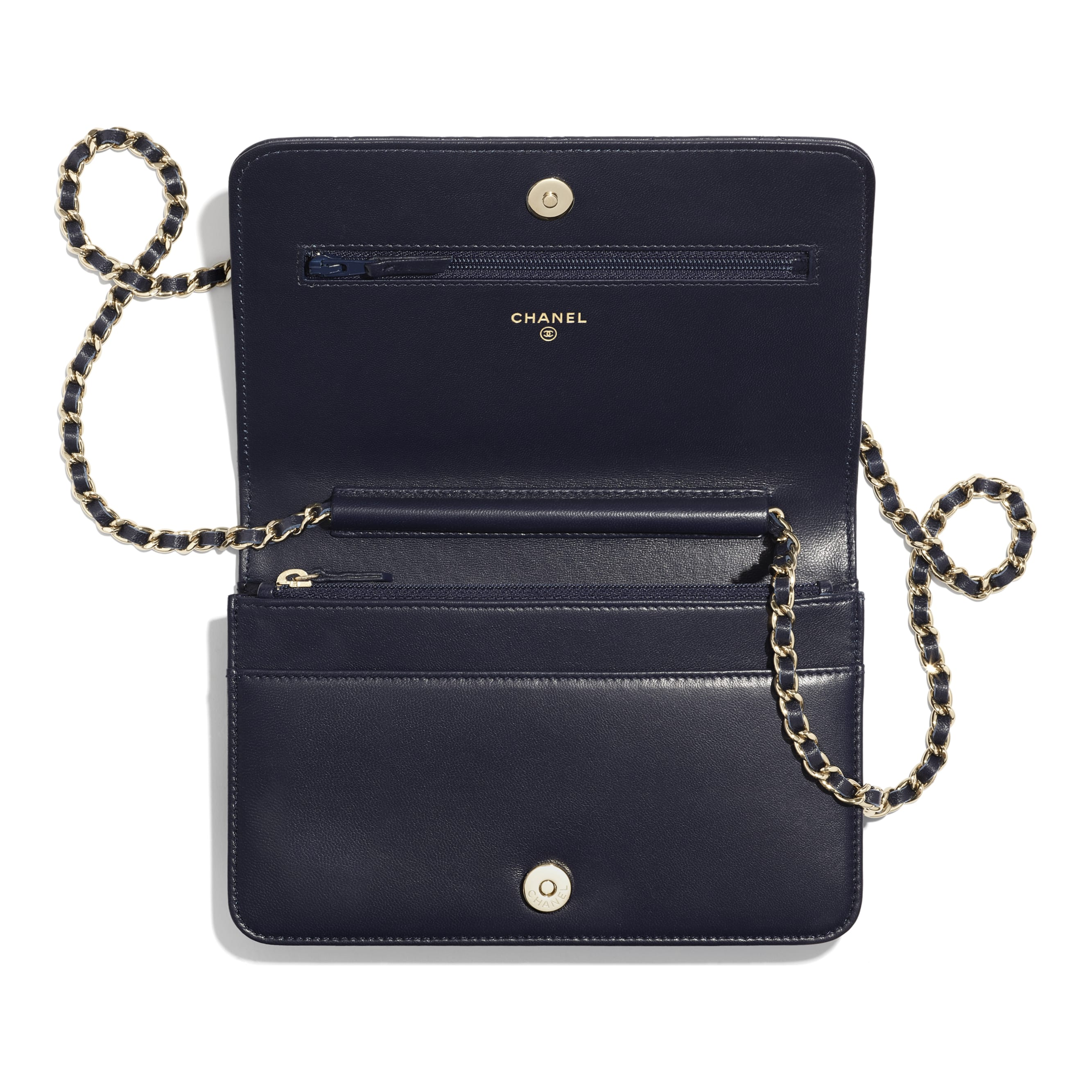 Wallet On Chain - Navy Blue - Lambskin, Charms & Gold-Tone Metal - CHANEL - Other view - see standard sized version