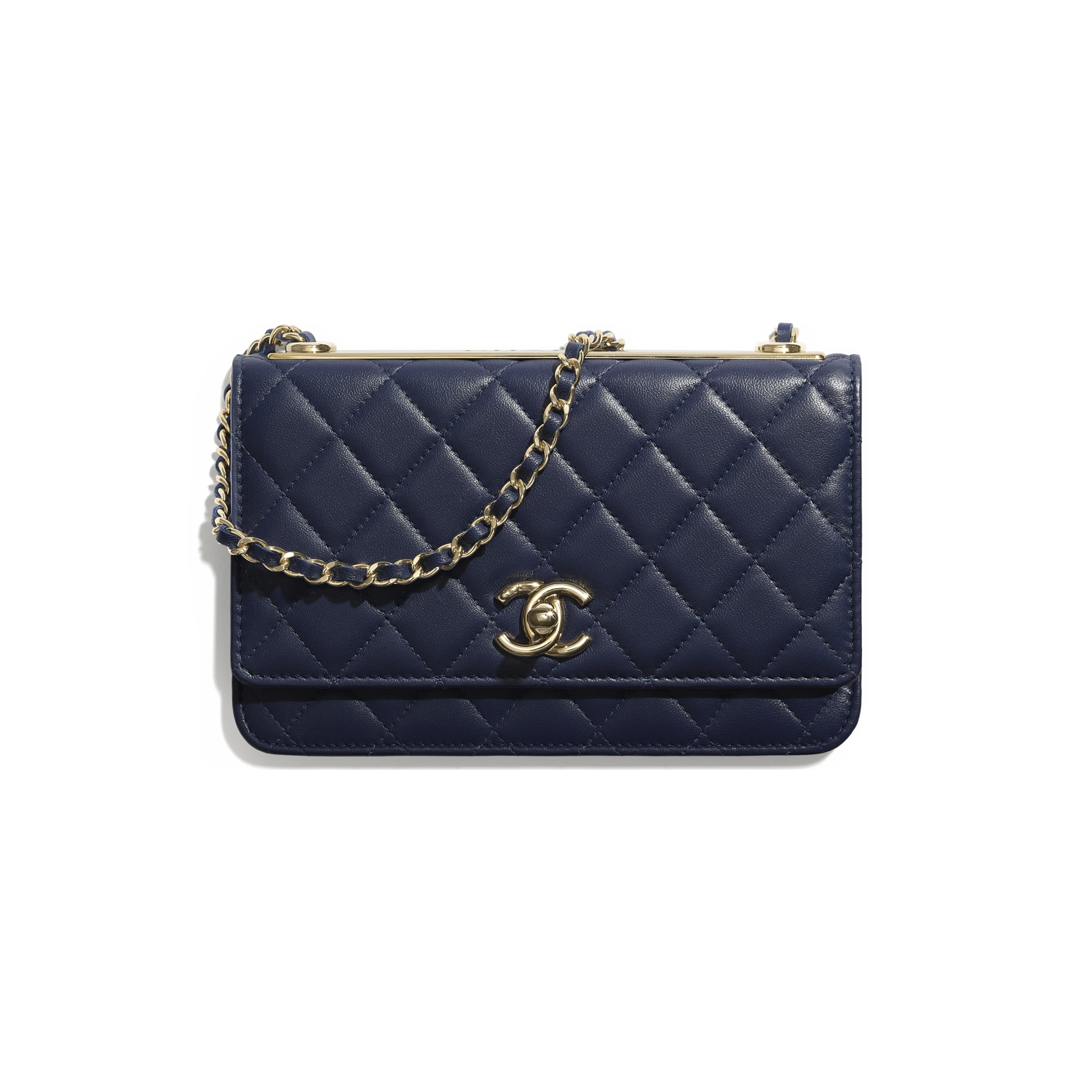 Wallet On Chain - Navy Blue - Lambskin - Default view - see standard sized version