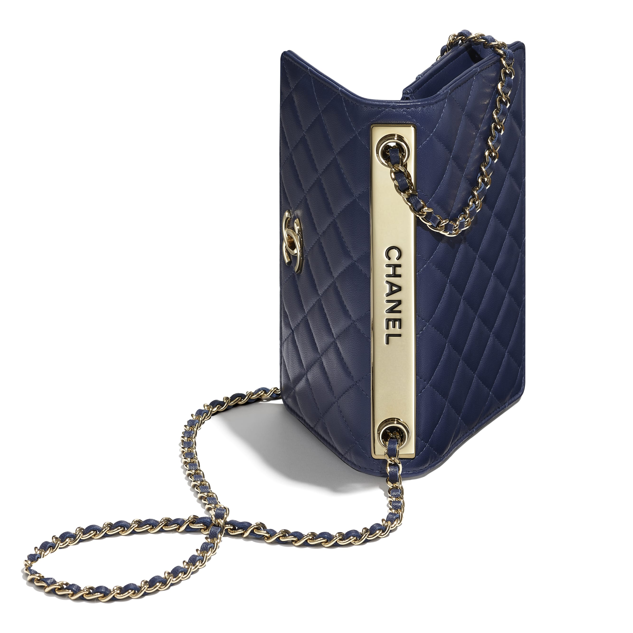 Wallet On Chain - Navy Blue - Lambskin - Extra view - see standard sized version
