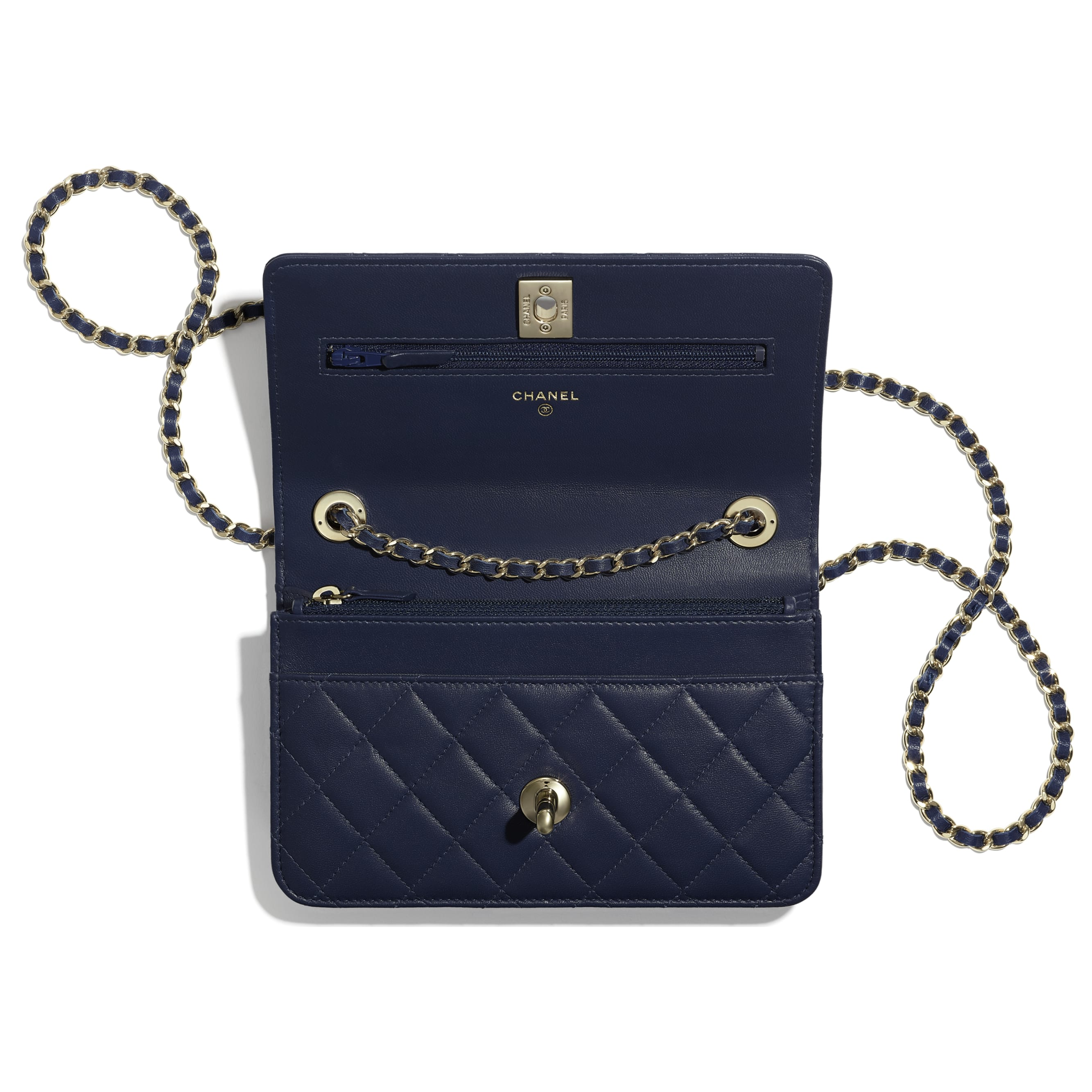 Wallet On Chain - Navy Blue - Lambskin - Other view - see standard sized version
