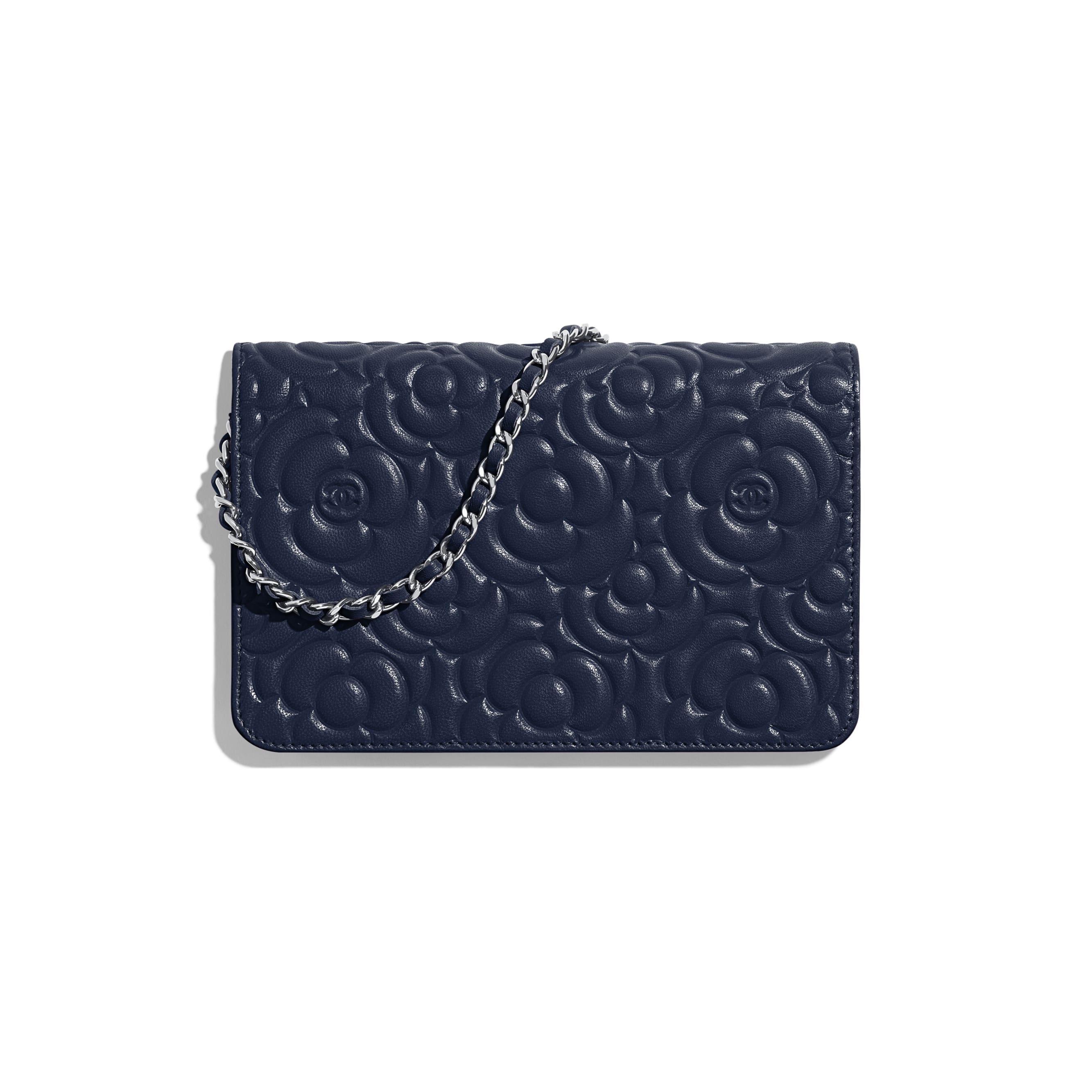 Wallet on Chain - Navy Blue - Lambskin & Silver-Tone Metal - Alternative view - see standard sized version