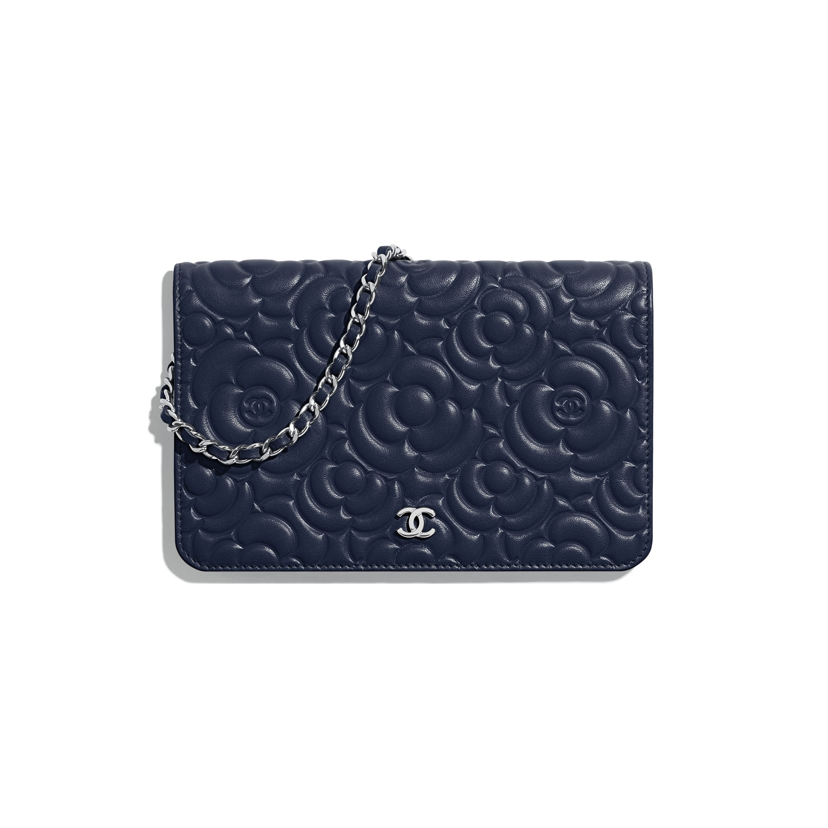 Wallet on Chain - Navy Blue - Lambskin & Silver-Tone Metal - Default view - see standard sized version
