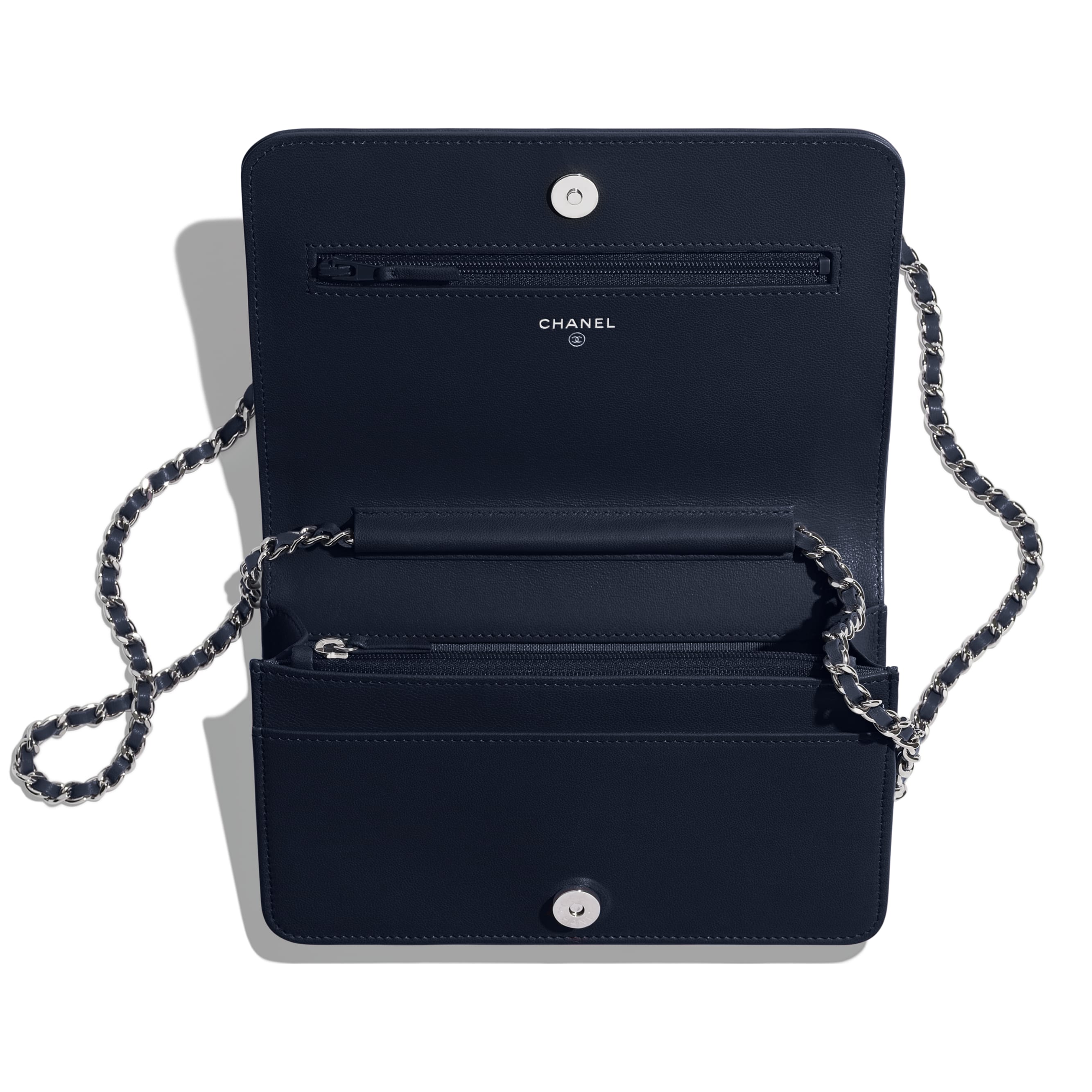 Wallet on Chain - Navy Blue - Lambskin & Silver-Tone Metal - Other view - see standard sized version