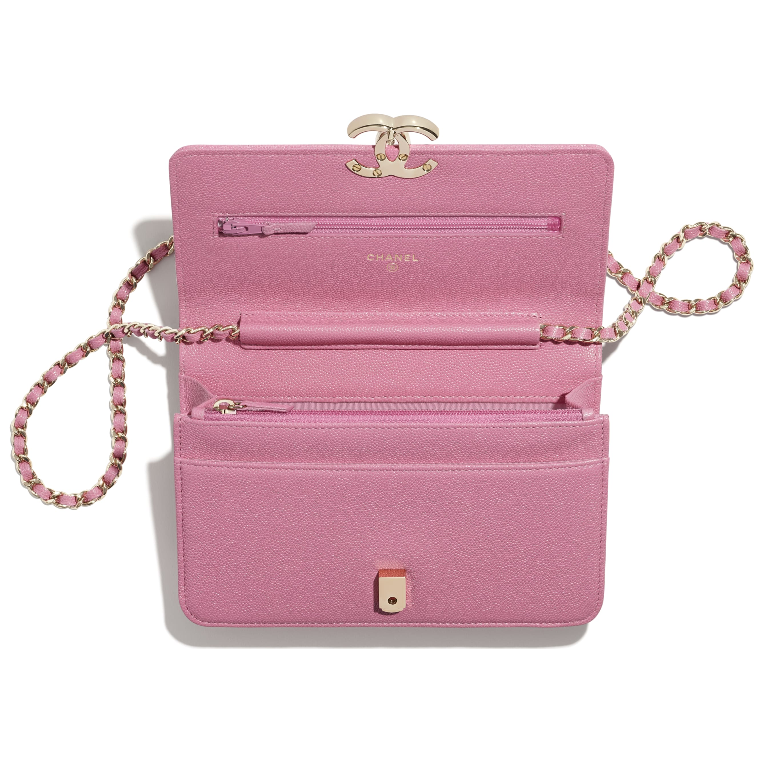 Wallet On Chain - Pink - Grained Calfskin & Gold-Tone Metal - CHANEL - Alternative view - see standard sized version