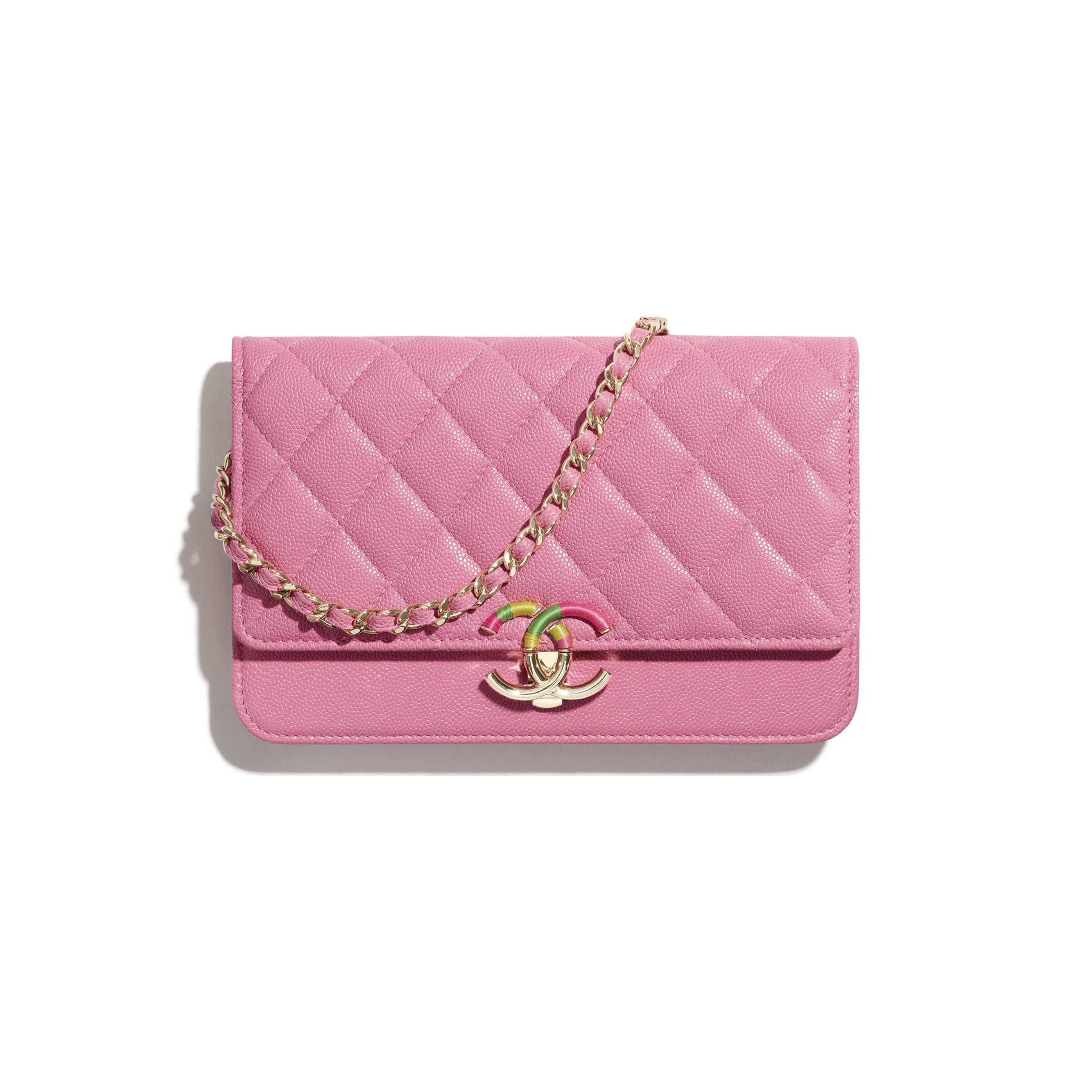 Wallet On Chain - Pink - Grained Calfskin & Gold-Tone Metal - CHANEL - Default view - see standard sized version