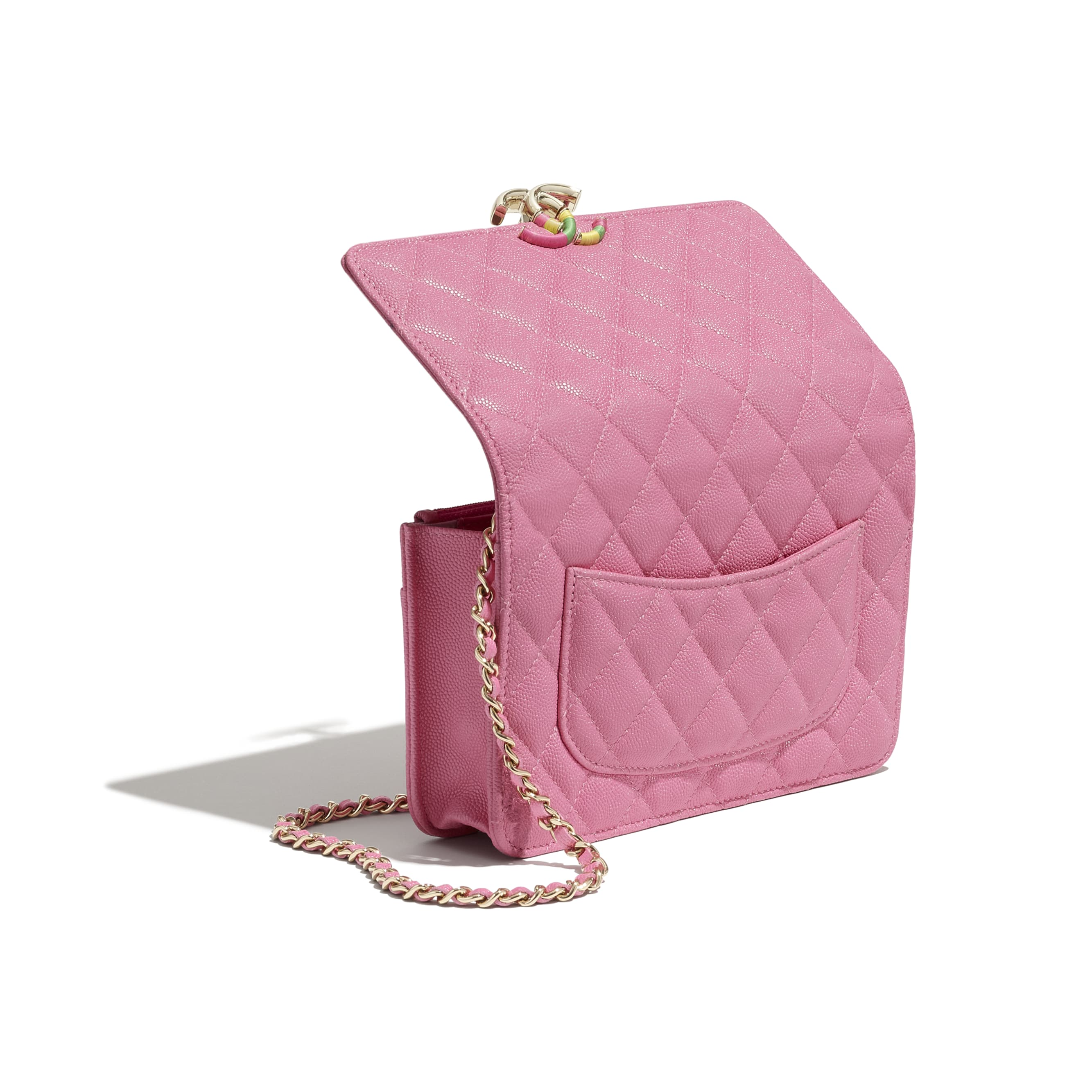Wallet On Chain - Pink - Grained Calfskin & Gold-Tone Metal - CHANEL - Extra view - see standard sized version