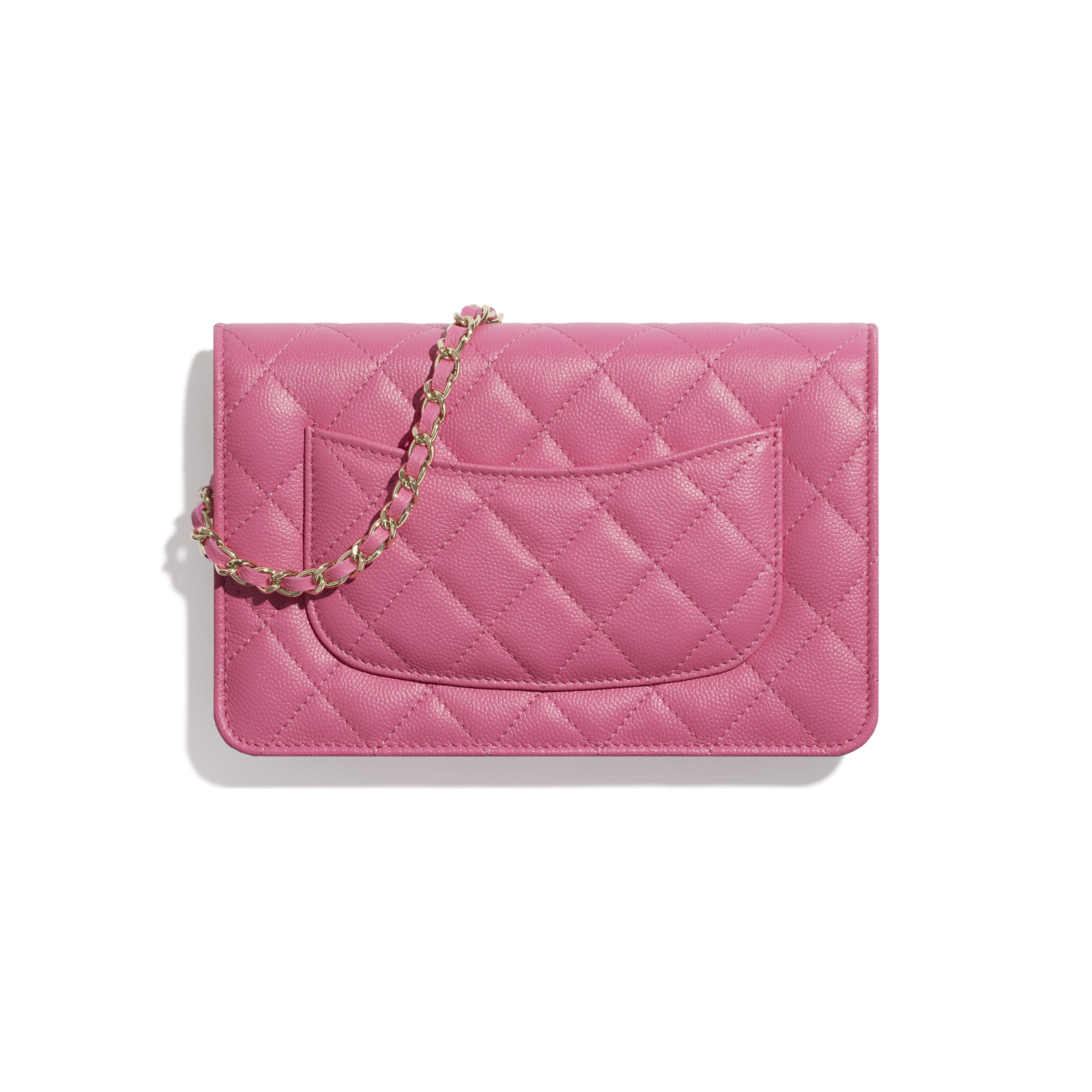 Wallet On Chain - Pink - Shiny Grained Calfskin, Gold-Tone & Lacquered Metal  - CHANEL - Alternative view - see standard sized version