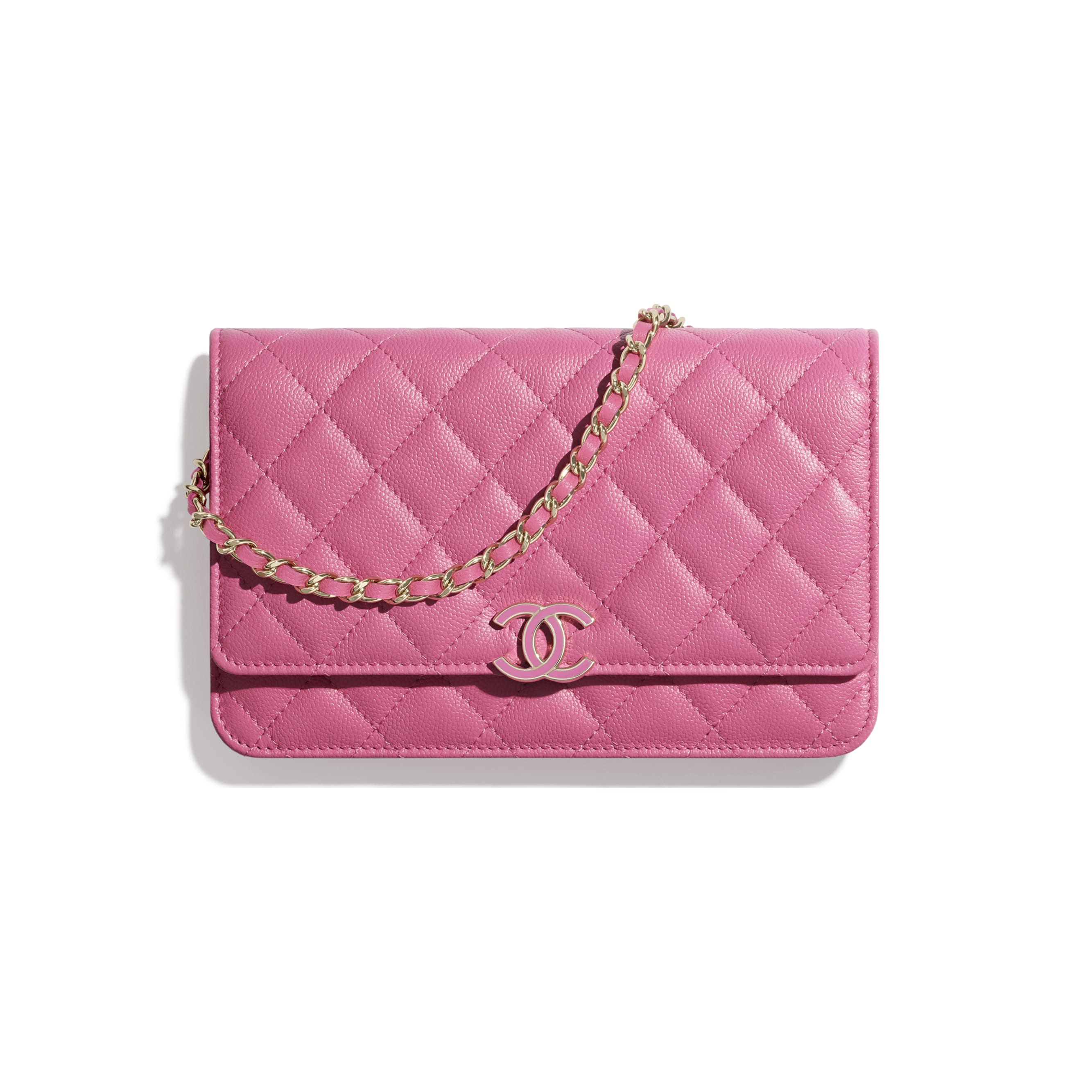 Wallet On Chain - Pink - Shiny Grained Calfskin, Gold-Tone & Lacquered Metal  - CHANEL - Default view - see standard sized version
