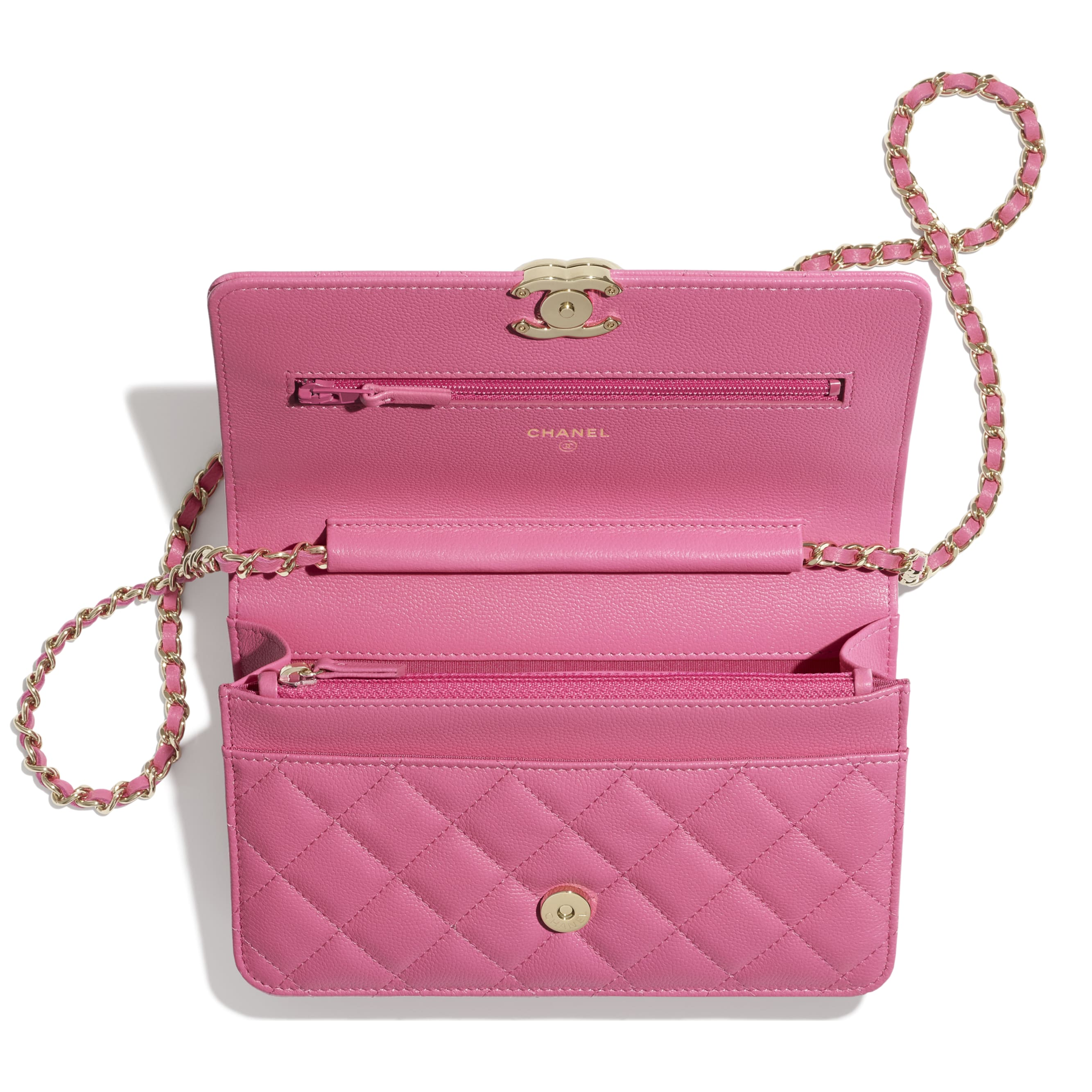 Wallet On Chain - Pink - Shiny Grained Calfskin, Gold-Tone & Lacquered Metal  - CHANEL - Other view - see standard sized version