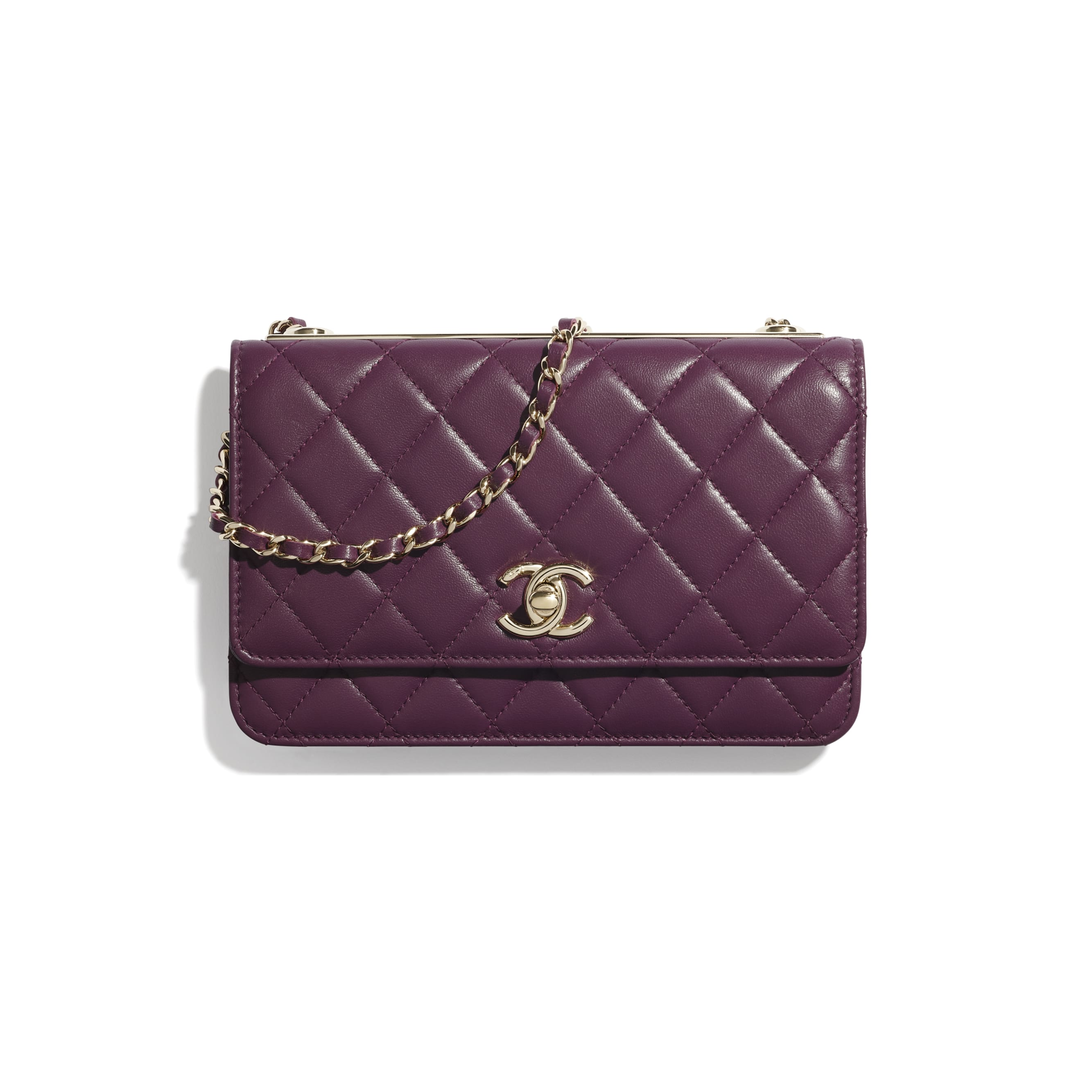 Wallet On Chain - Purple - Lambskin - CHANEL - Default view - see standard sized version