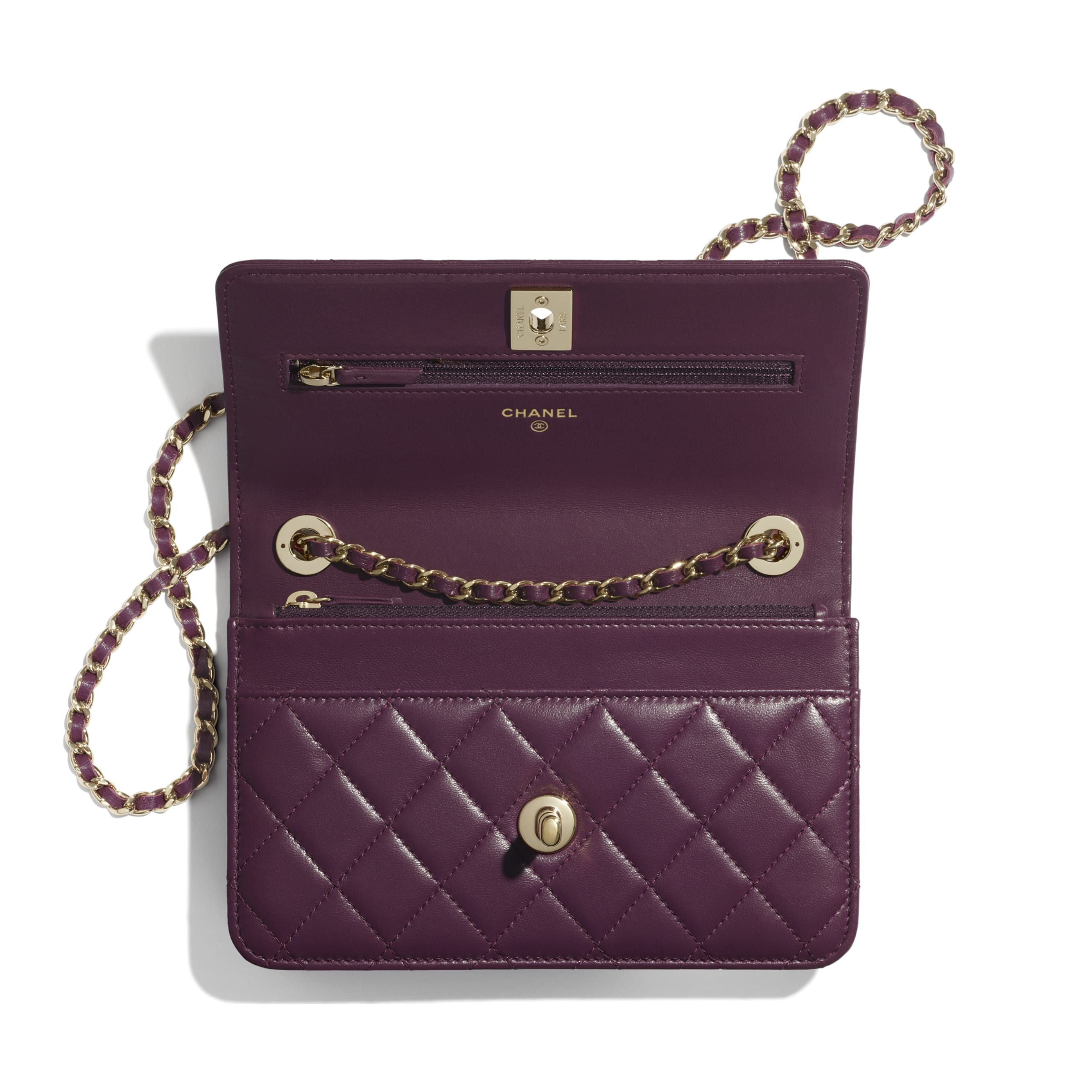 Wallet On Chain - Purple - Lambskin - CHANEL - Other view - see standard sized version