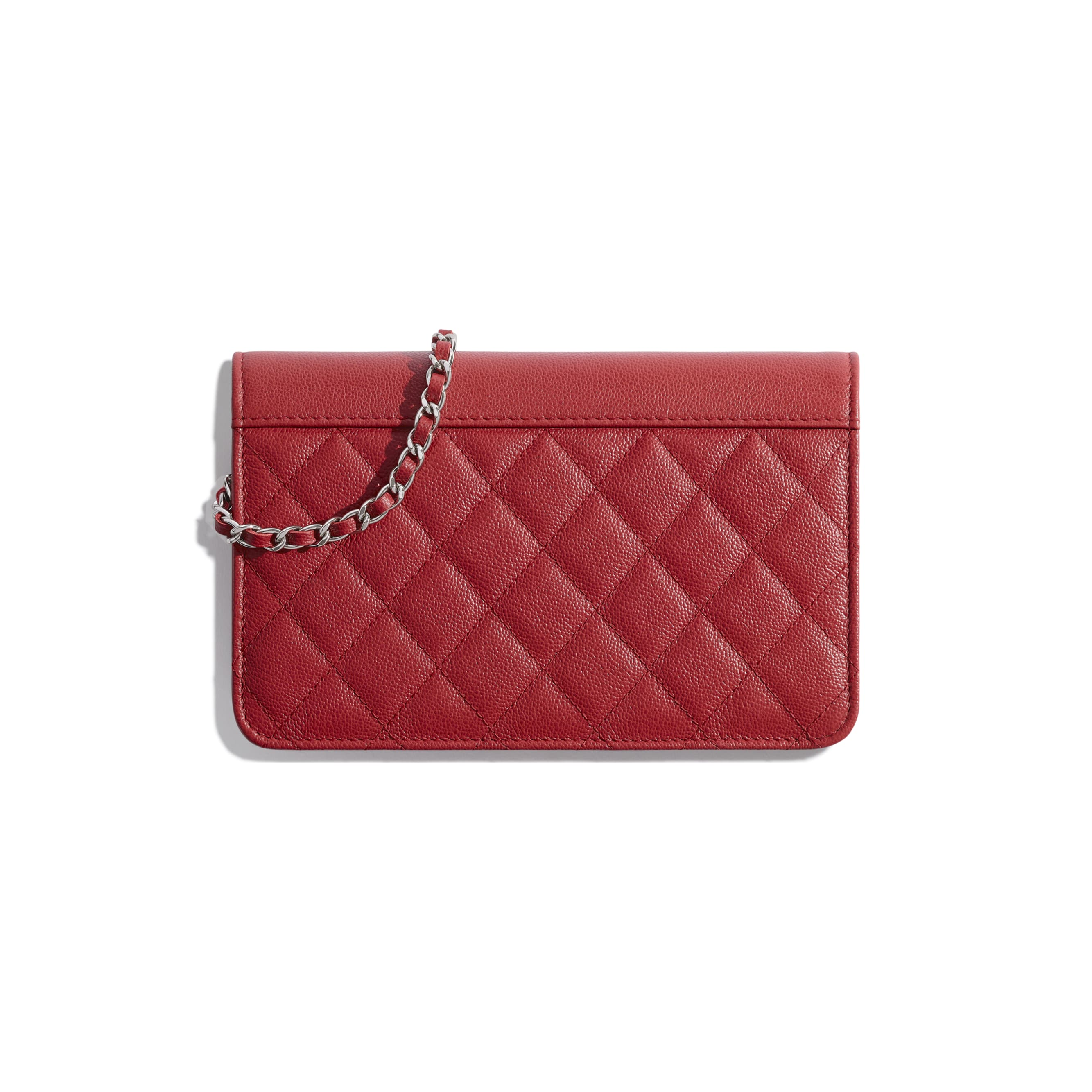 Wallet On Chain - Red - Grained Calfskin & Silver Metal - Alternative view - see standard sized version