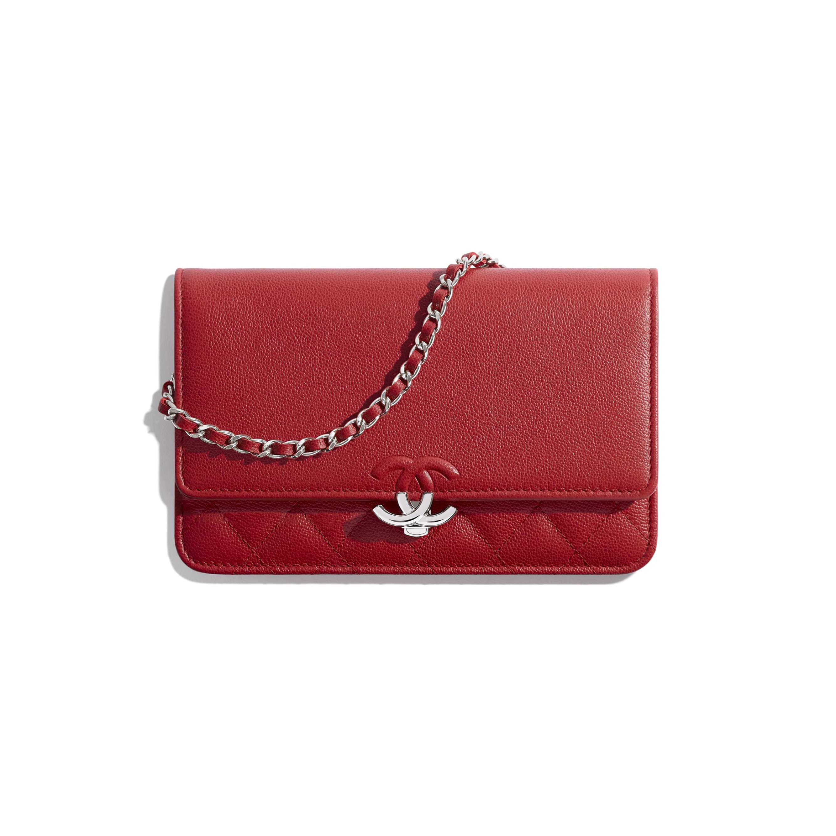 Wallet On Chain - Red - Grained Calfskin & Silver Metal - Default view - see standard sized version