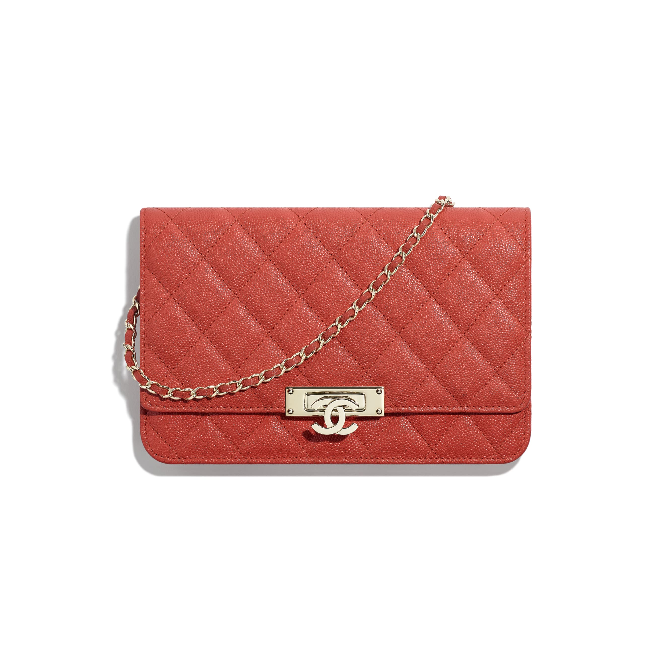 Wallet On Chain - Red - Grained Goatskin & Gold Metal - Default view - see standard sized version
