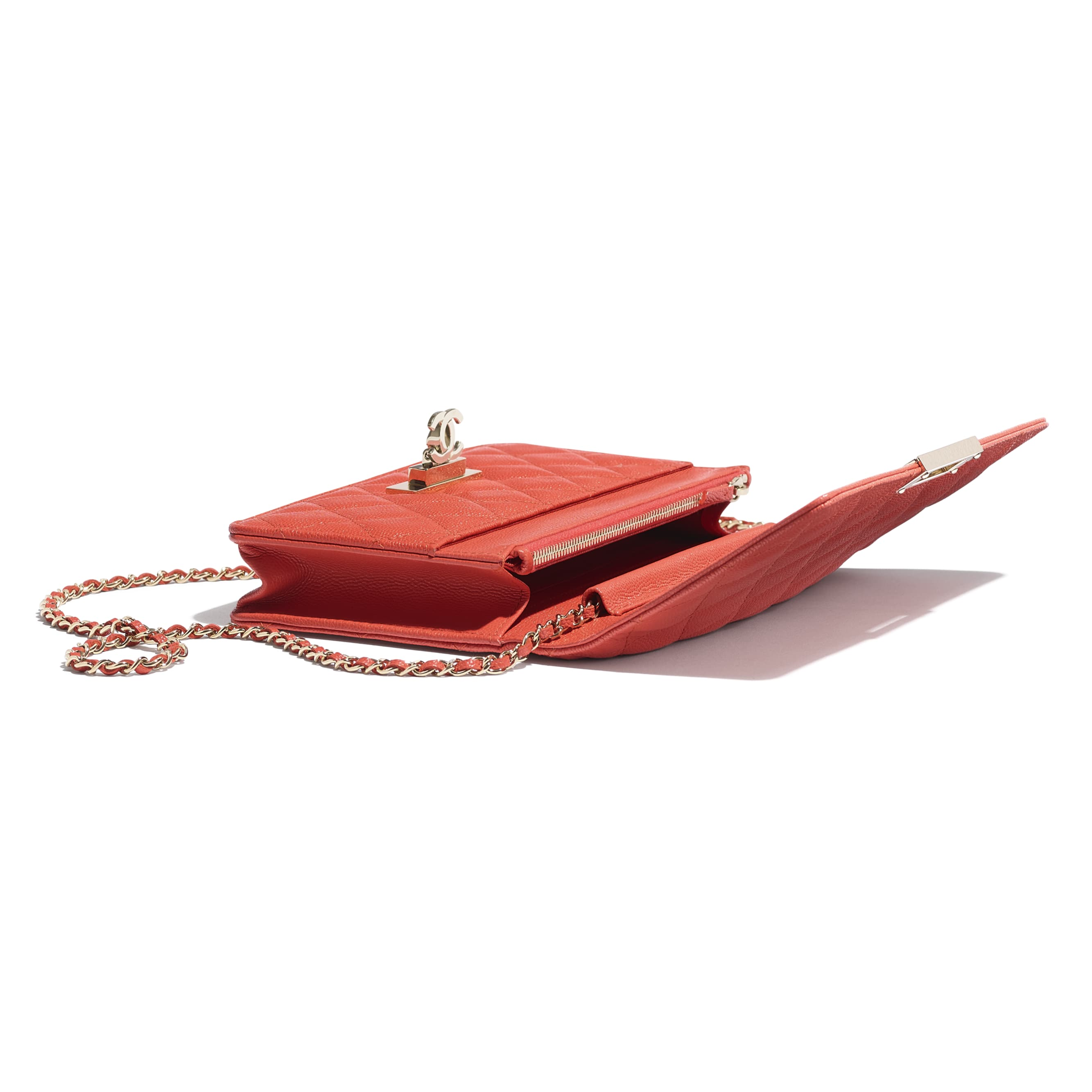 Wallet On Chain - Red - Grained Goatskin & Gold Metal - Extra view - see standard sized version
