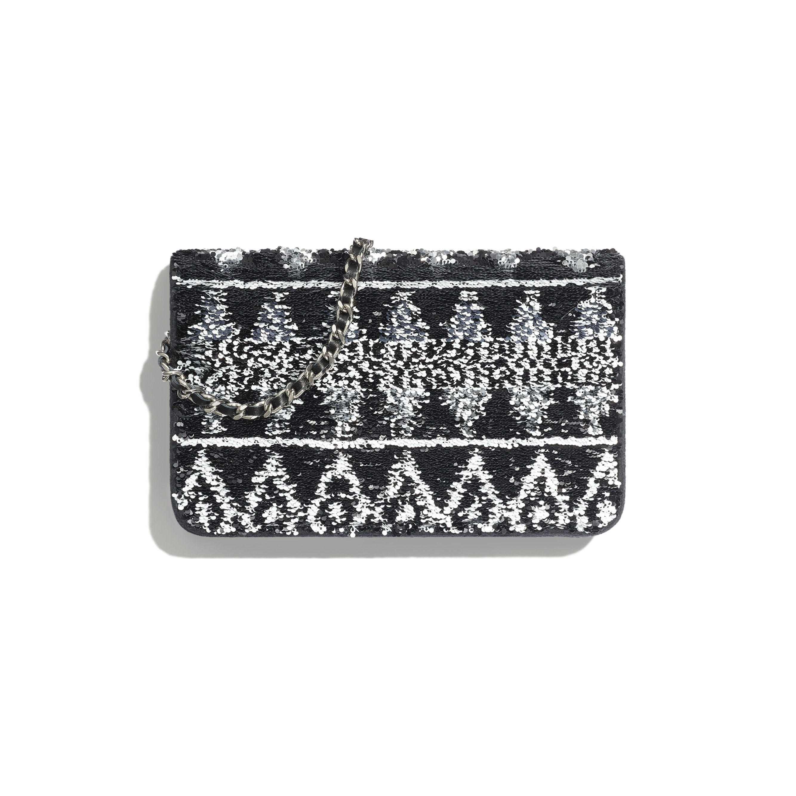 Wallet On Chain - Silver & Black - Sequins, Wool Felt & Ruthenium-Finish Metal - Alternative view - see standard sized version