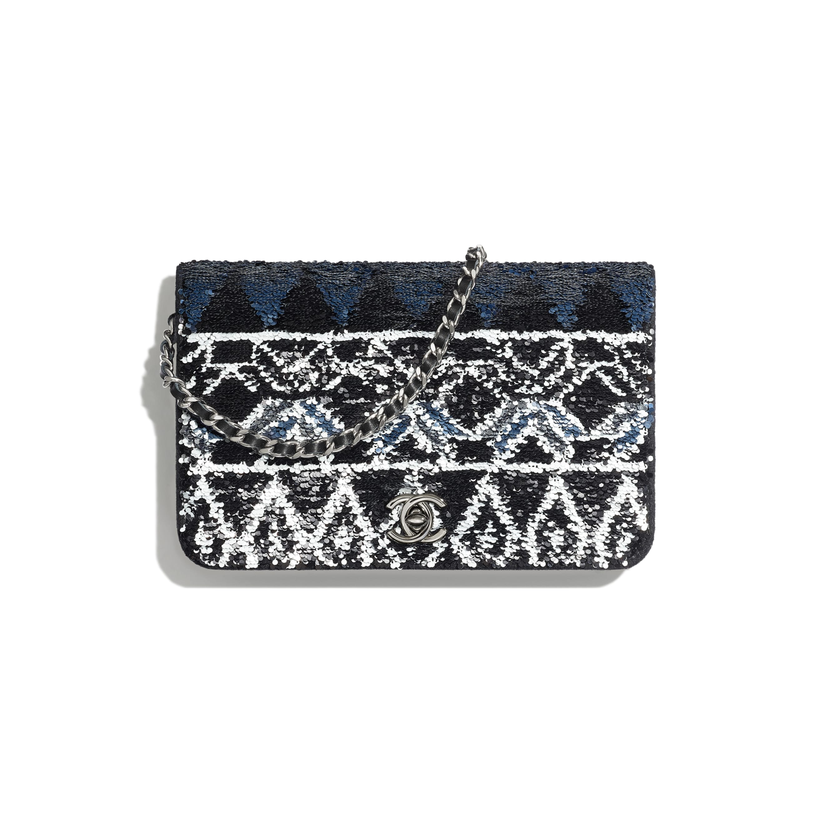 Wallet On Chain - Silver & Black - Sequins, Wool Felt & Ruthenium-Finish Metal - Default view - see standard sized version