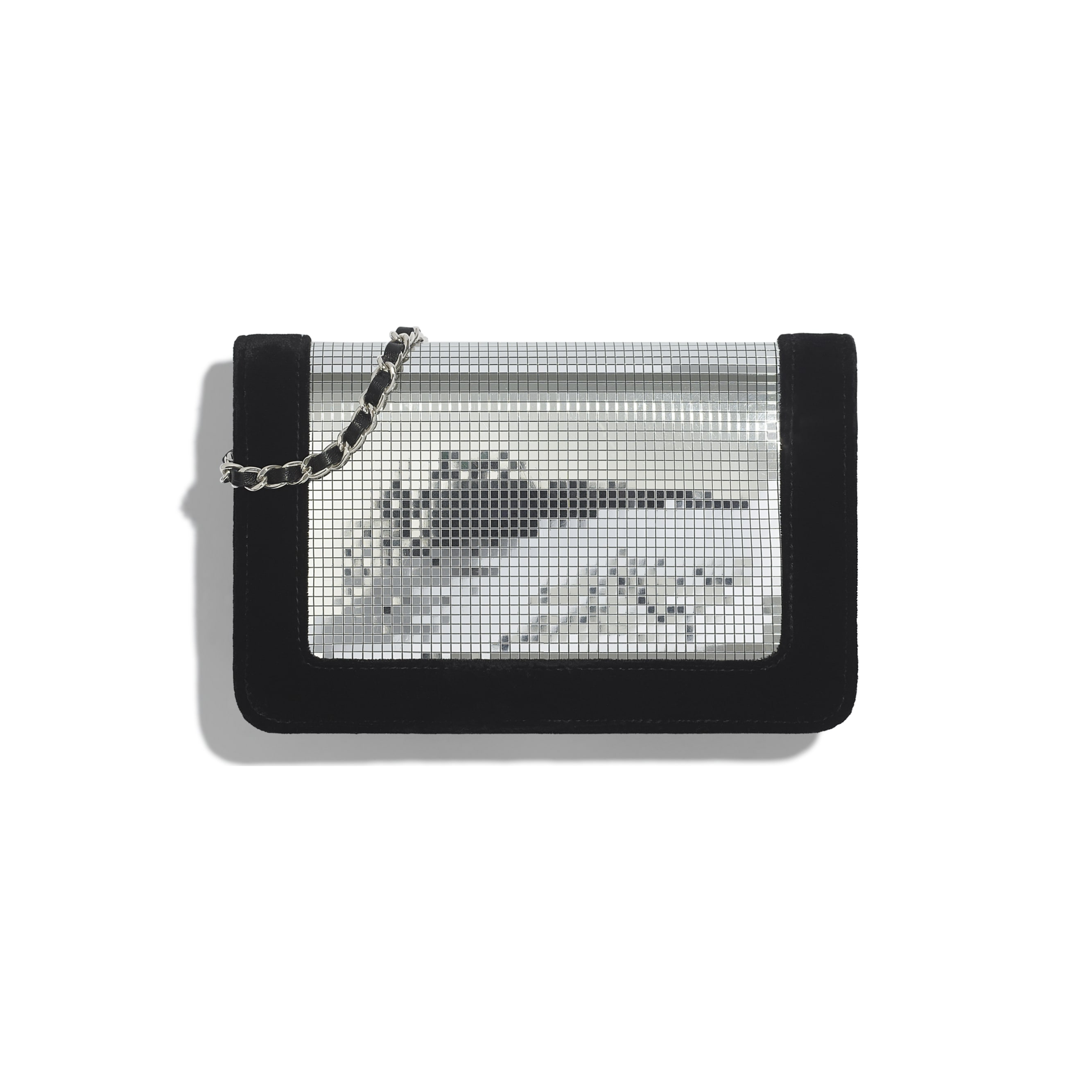 Wallet On Chain - Silver & Black - Velvet, Mixed Fibres & Silver-Tone Metal - CHANEL - Alternative view - see standard sized version