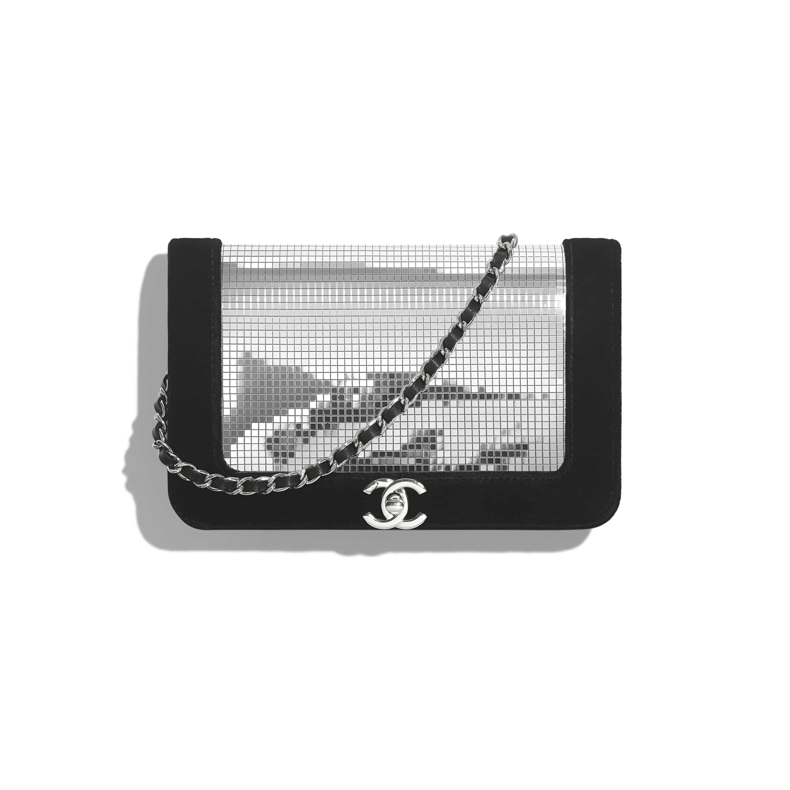 Wallet On Chain - Silver & Black - Velvet, Mixed Fibres & Silver-Tone Metal - CHANEL - Default view - see standard sized version