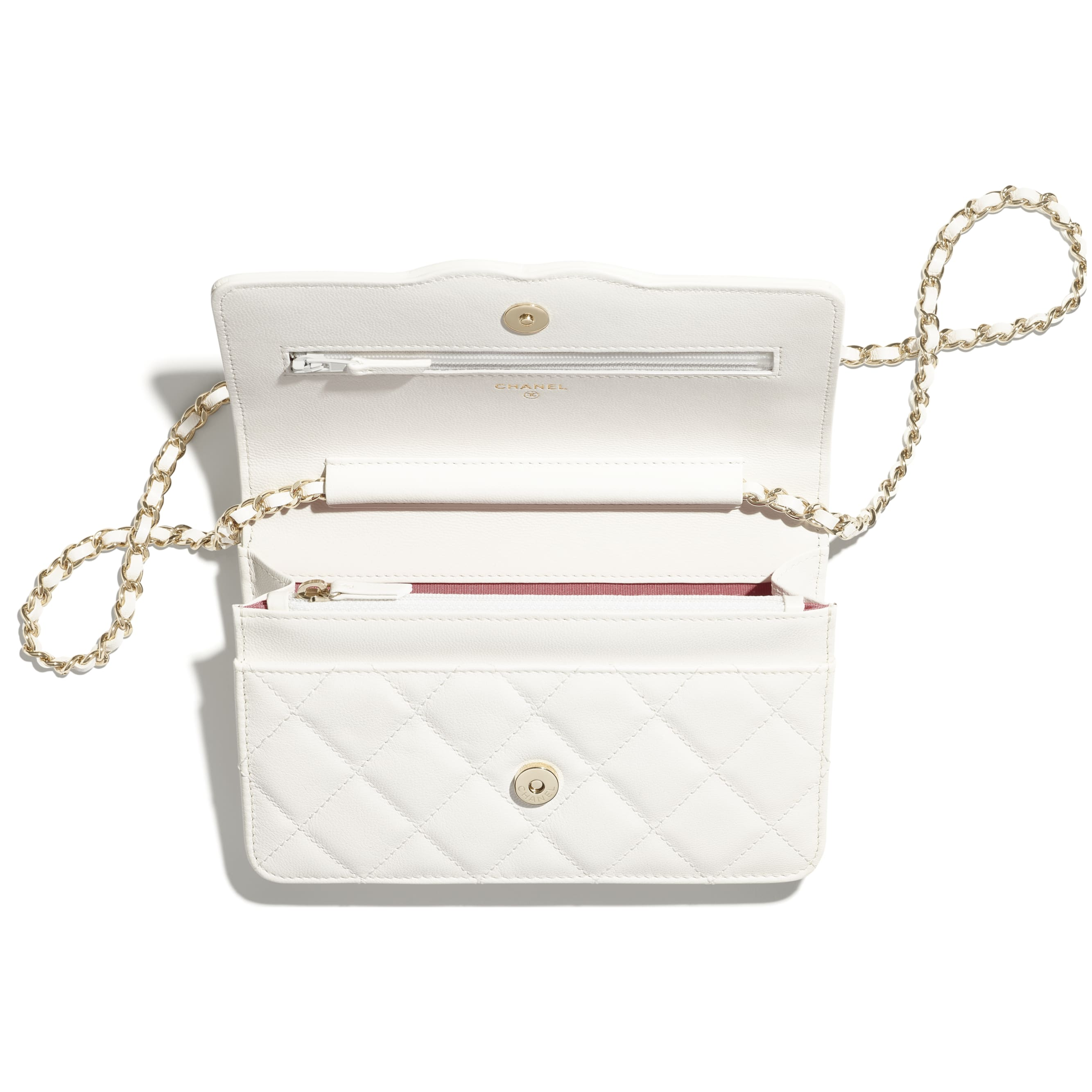 Wallet On Chain - White - Goatskin & Gold-Tone Metal - CHANEL - Alternative view - see standard sized version