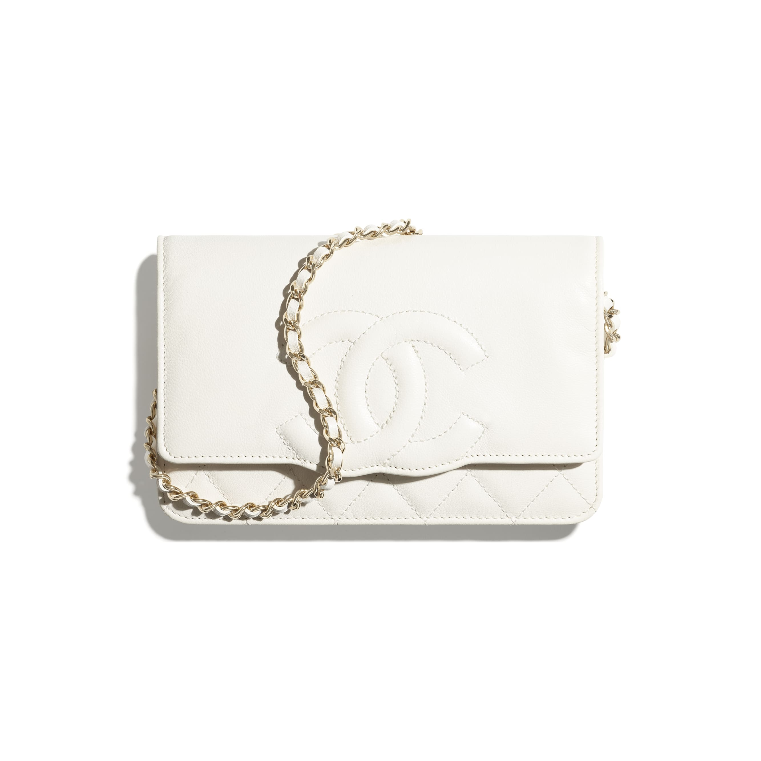 Wallet On Chain - White - Goatskin & Gold-Tone Metal - CHANEL - Default view - see standard sized version