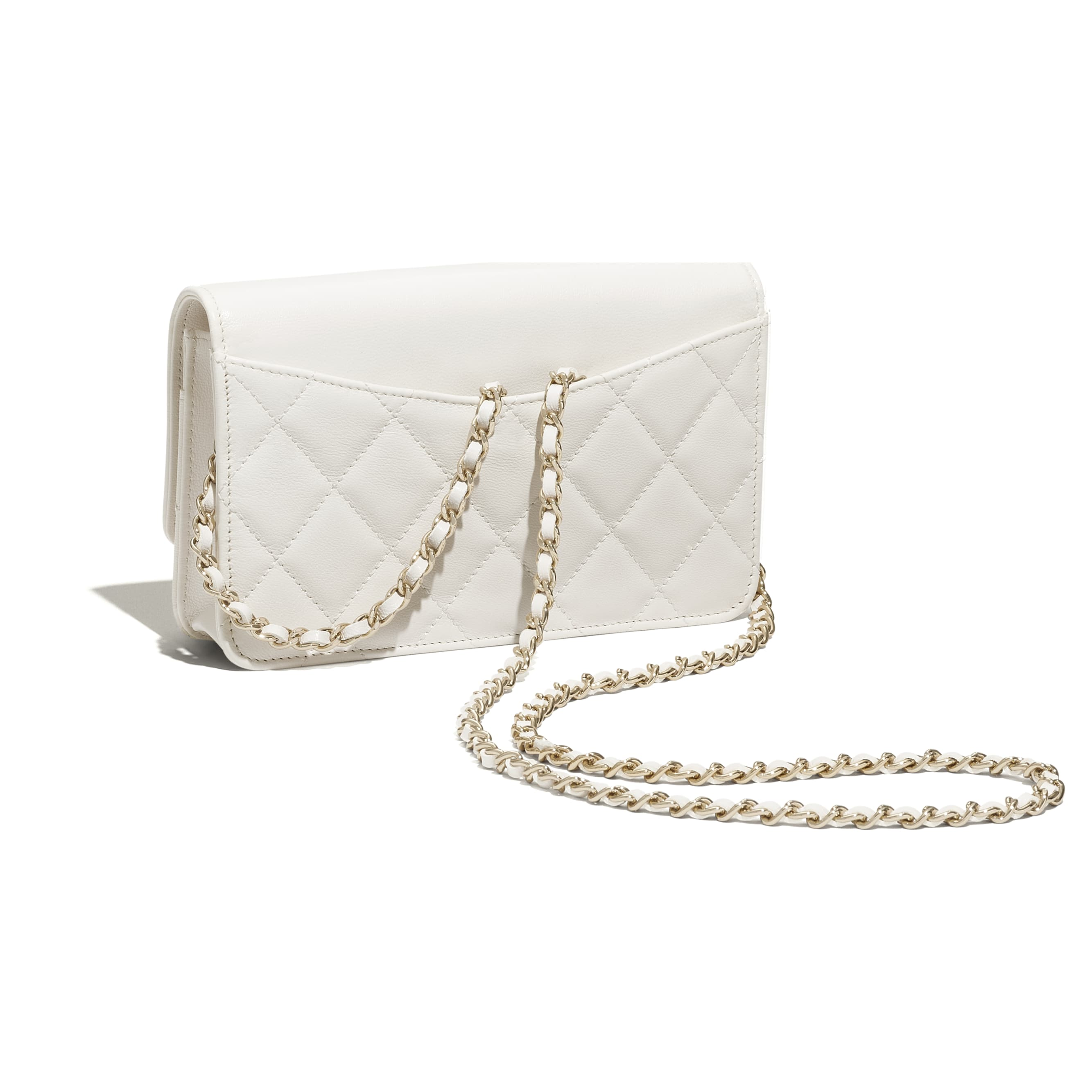 Wallet On Chain - White - Goatskin & Gold-Tone Metal - CHANEL - Extra view - see standard sized version