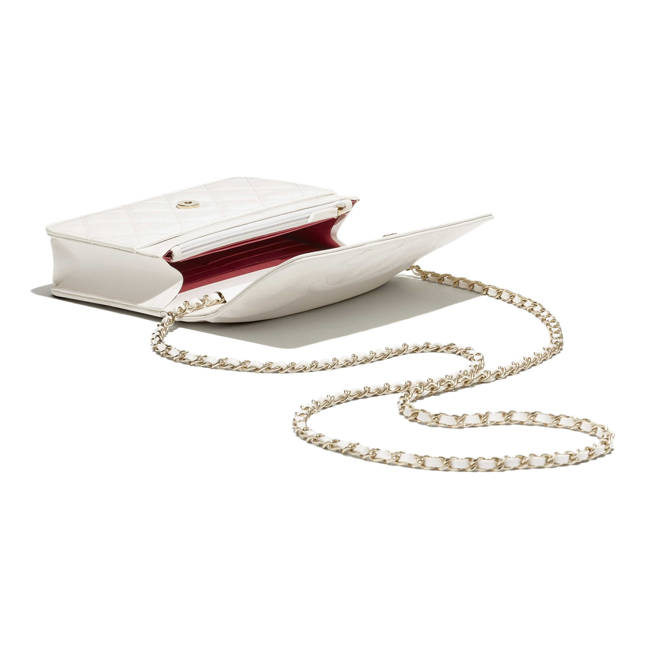 鏈子皮夾 - 白 - 山羊皮與金色調金屬 - CHANEL - 其他視圖 - 查看標準尺寸版本