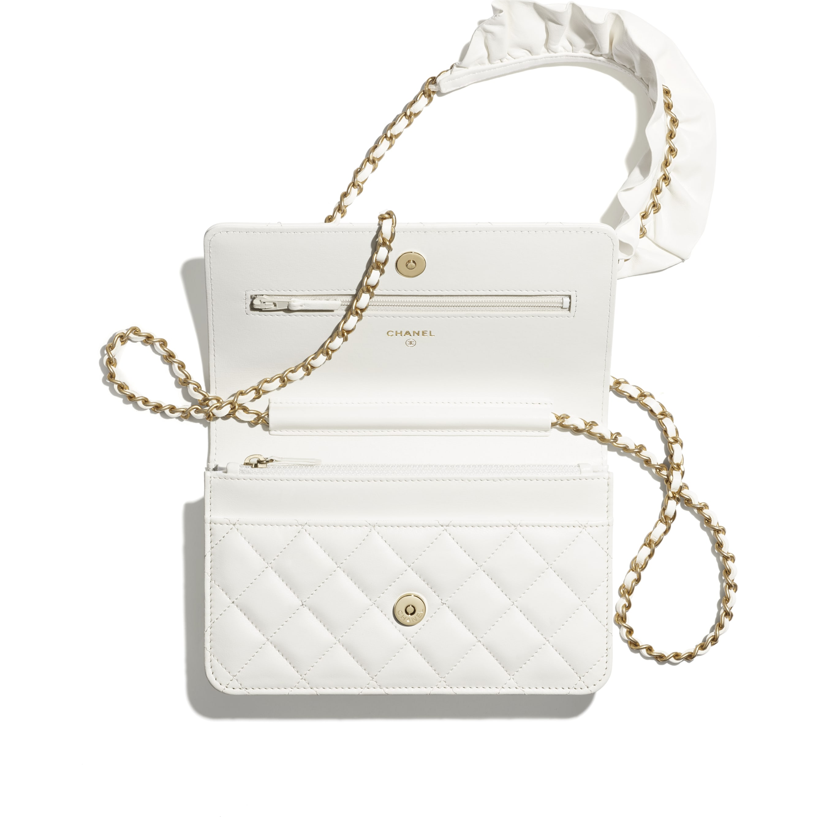 Wallet On Chain - White - Lambskin - CHANEL - Alternative view - see standard sized version
