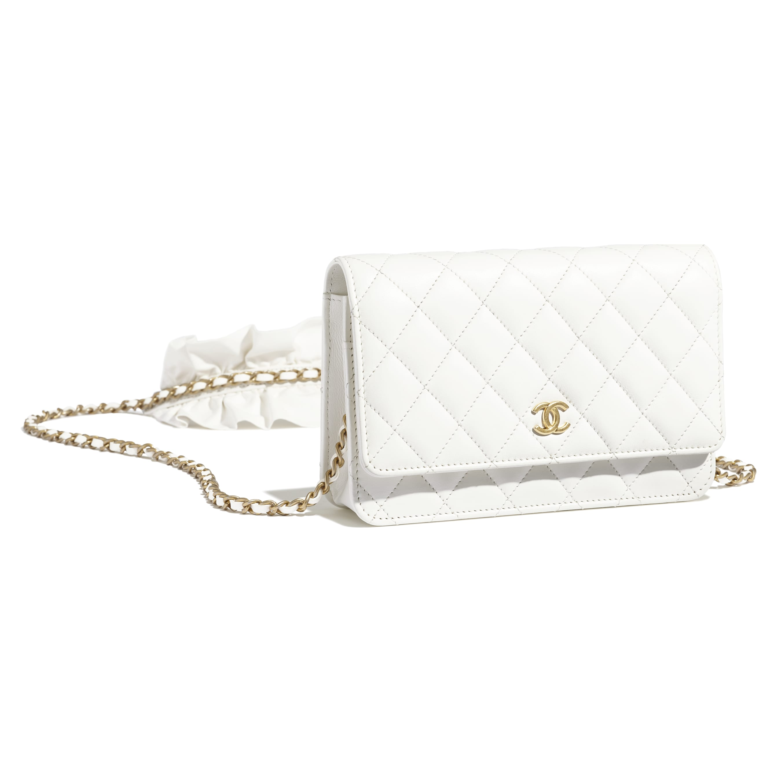 Wallet On Chain - White - Lambskin - CHANEL - Extra view - see standard sized version