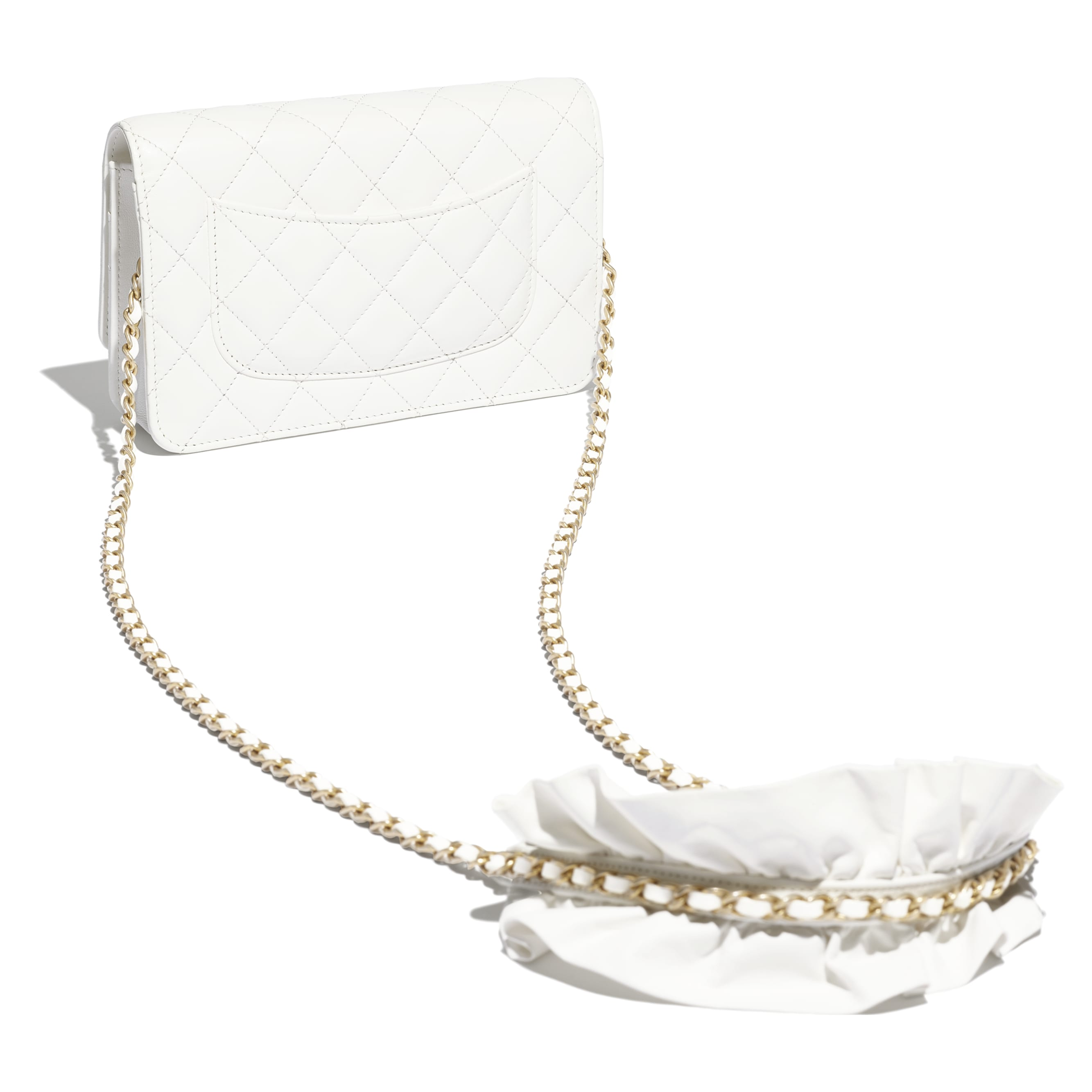 Wallet On Chain - White - Lambskin - CHANEL - Other view - see standard sized version