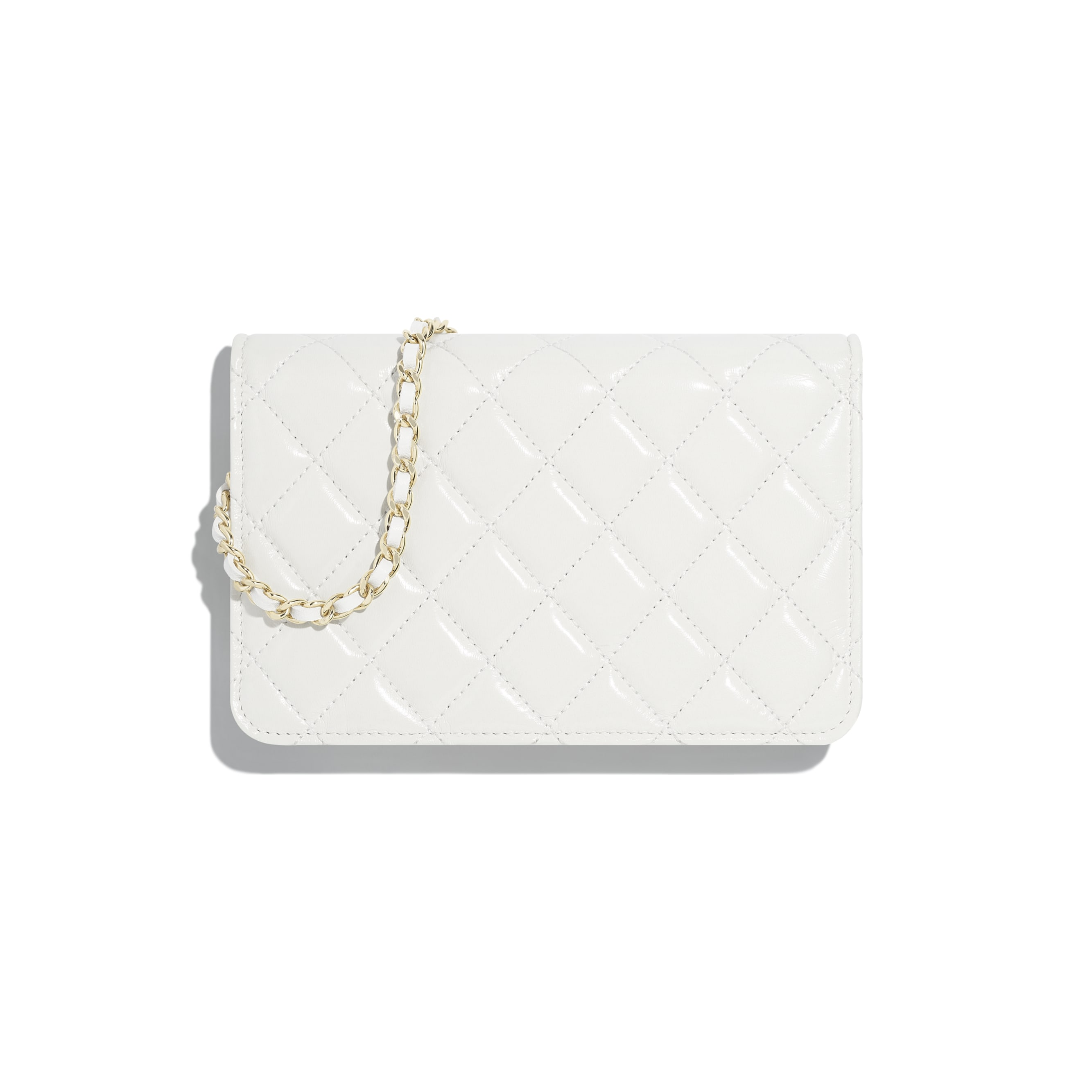 Wallet On Chain - White - Shiny Lambskin & Gold-Tone Metal - Alternative view - see standard sized version