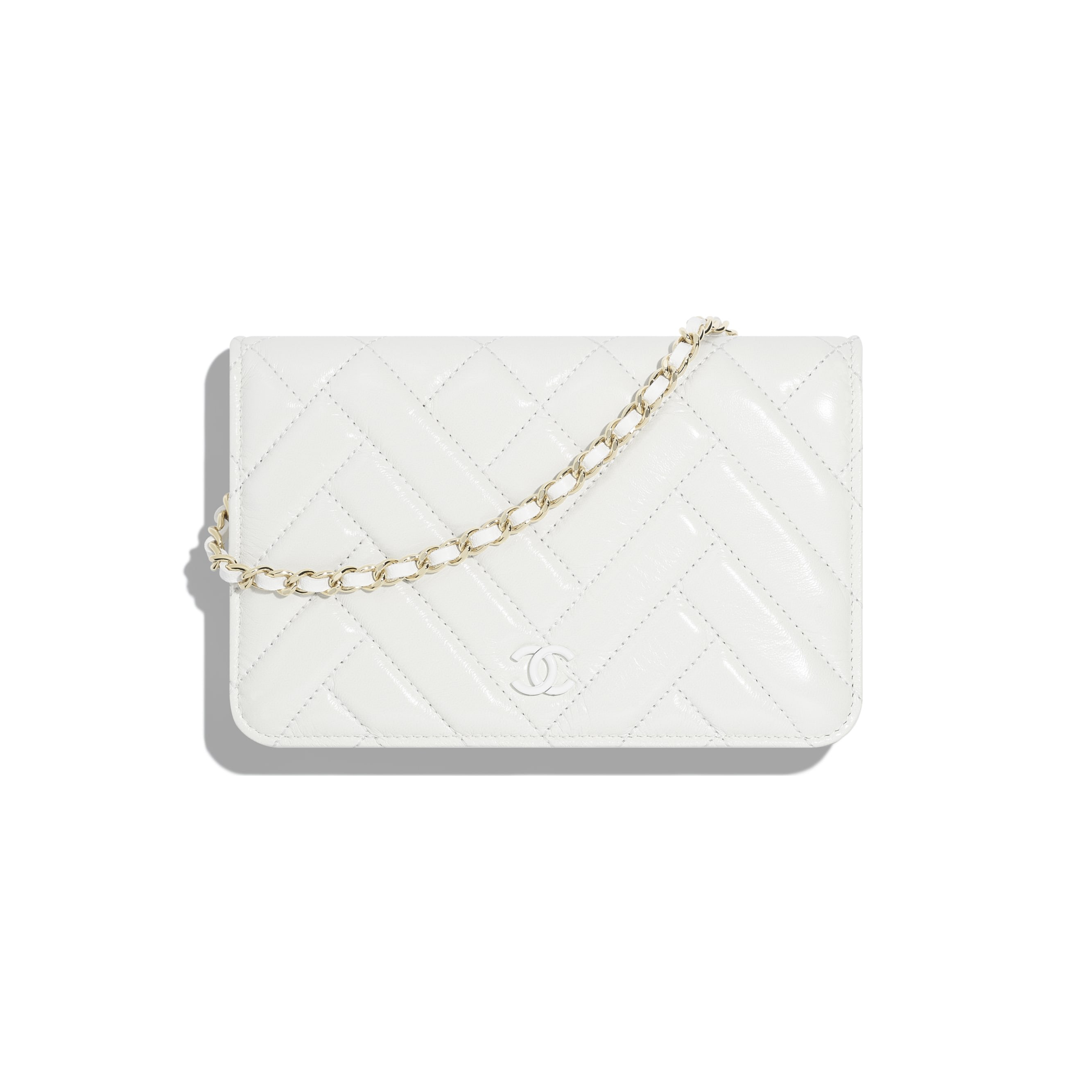 Wallet On Chain - White - Shiny Lambskin & Gold-Tone Metal - Default view - see standard sized version