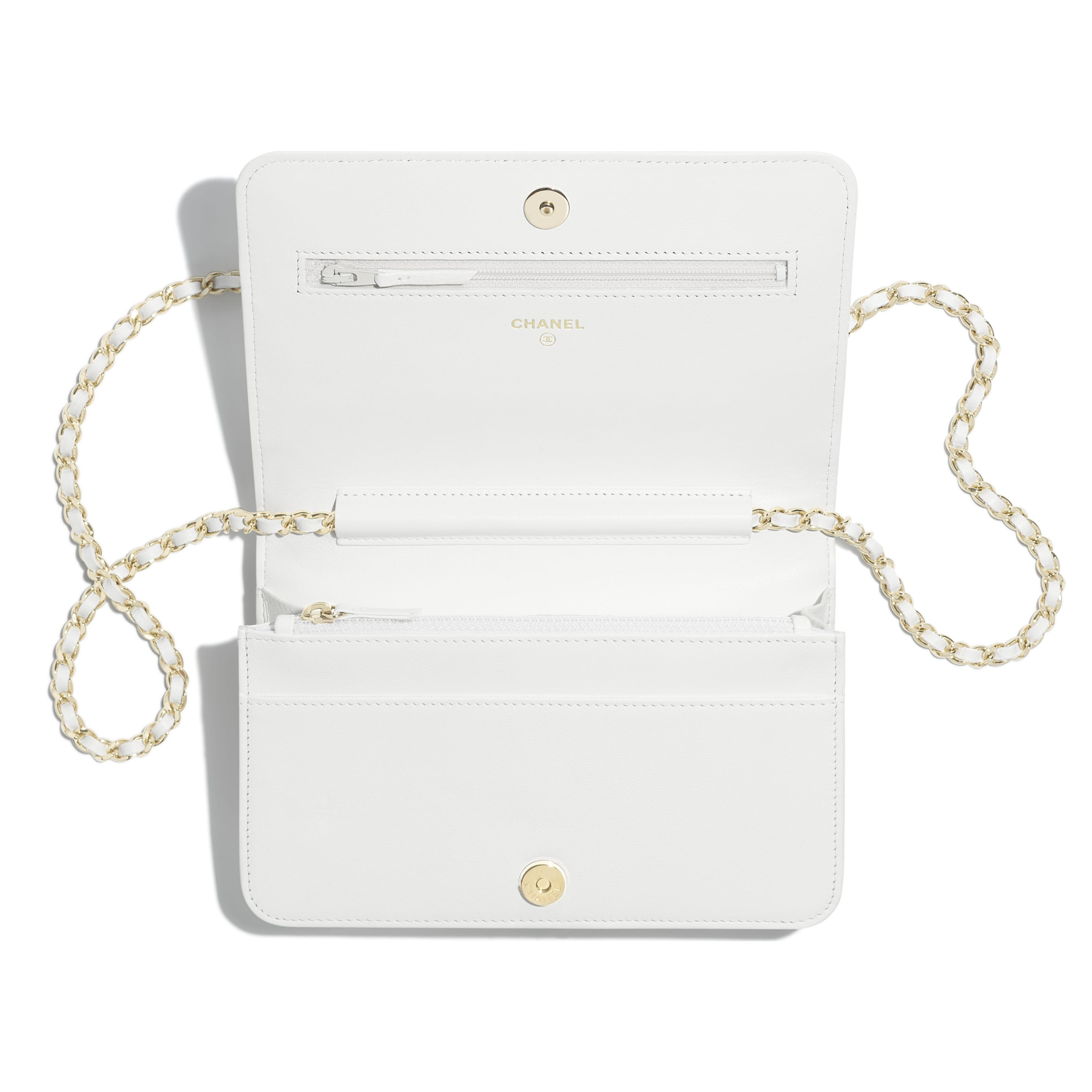 Wallet On Chain - White - Shiny Lambskin & Gold-Tone Metal - Other view - see standard sized version