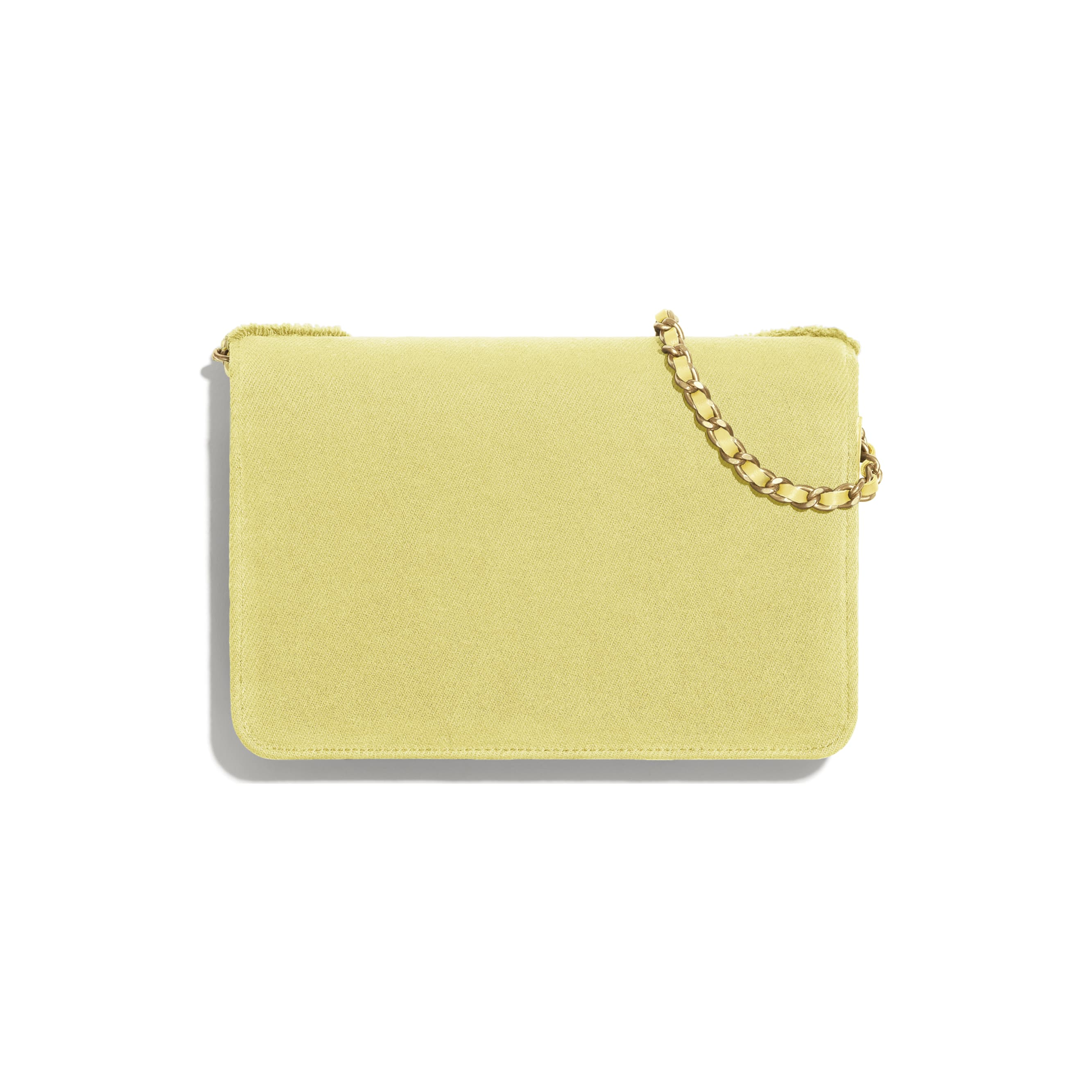 Wallet On Chain - Yellow - Denim & Gold Metal - Alternative view - see standard sized version