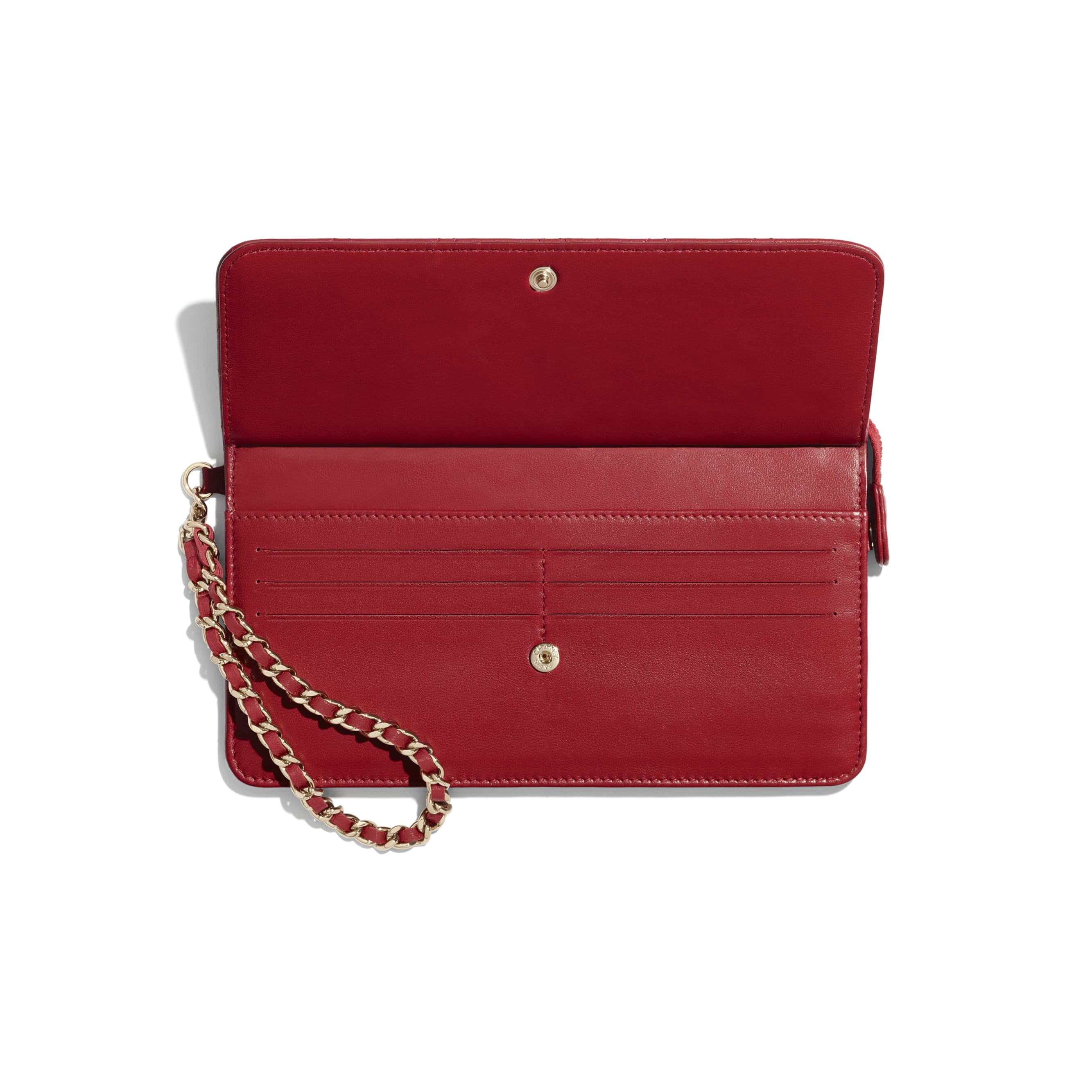 Wallet with Handle - Red - Lambskin, Charms & Gold-Tone Metal - CHANEL - Alternative view - see standard sized version