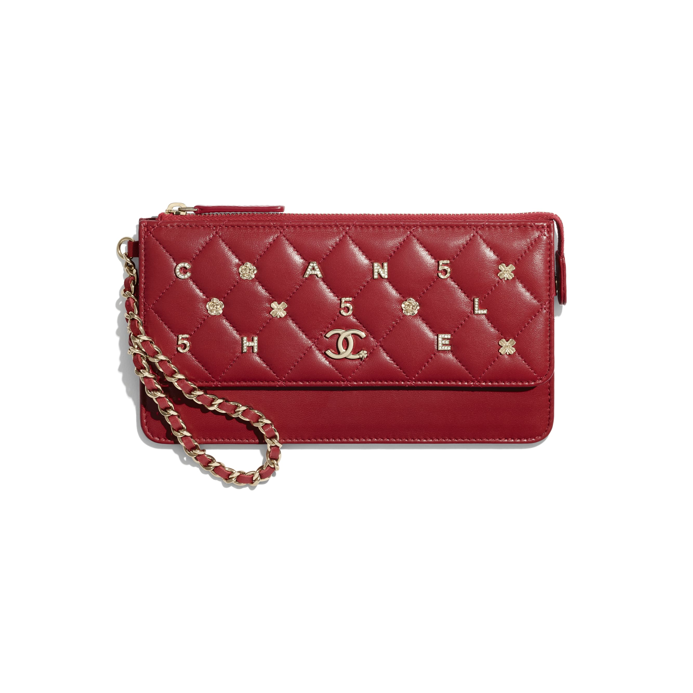 Wallet with Handle - Red - Lambskin, Charms & Gold-Tone Metal - CHANEL - Default view - see standard sized version