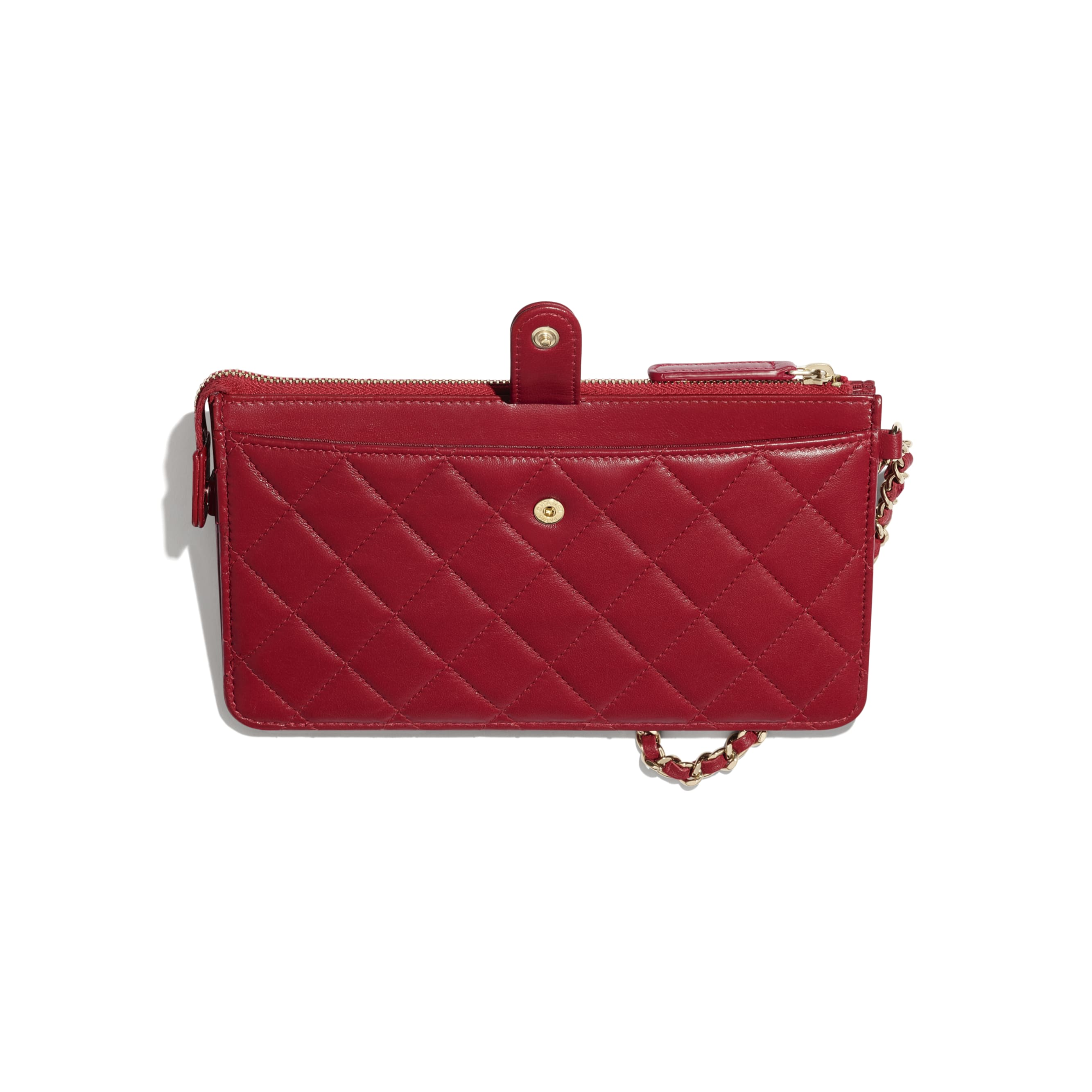 Wallet with Handle - Red - Lambskin, Charms & Gold-Tone Metal - CHANEL - Other view - see standard sized version