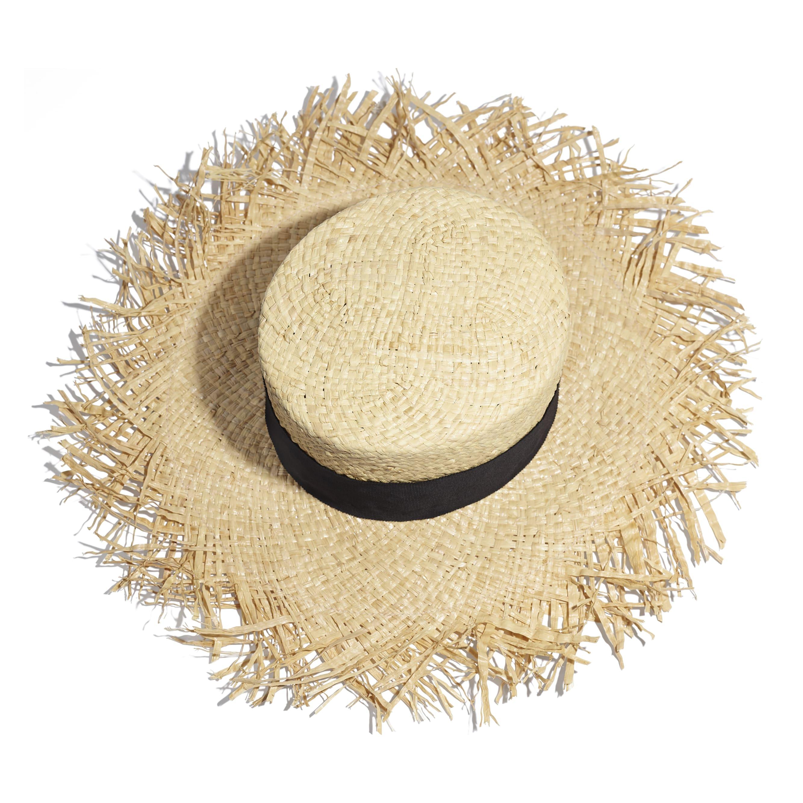 Wide-Brimmed Hat - Beige & Black - Raffia, Grosgrain & Metal - Alternative view - see standard sized version