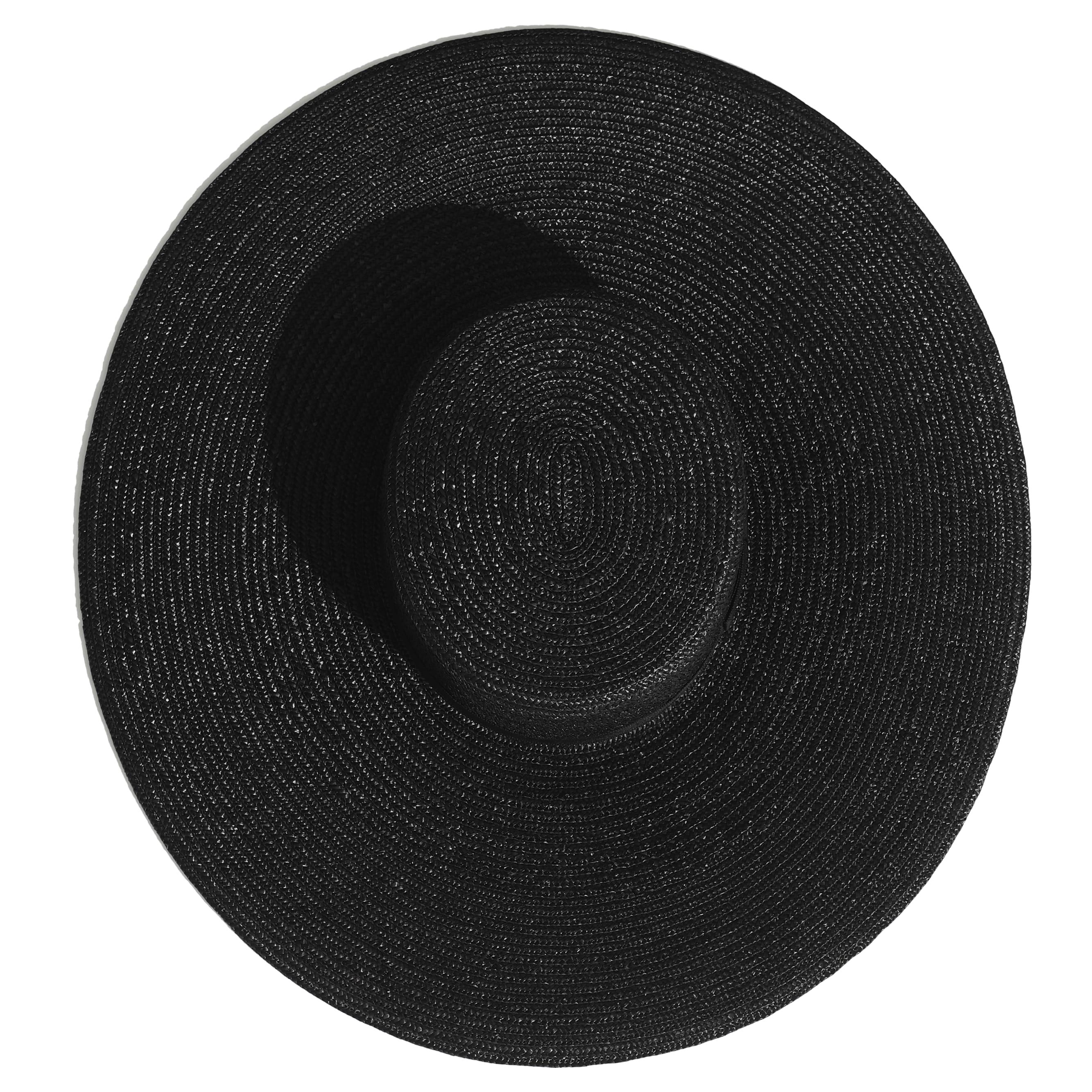 Wide Brimmed Hat - Black - Straw & Silk - Alternative view - see standard sized version
