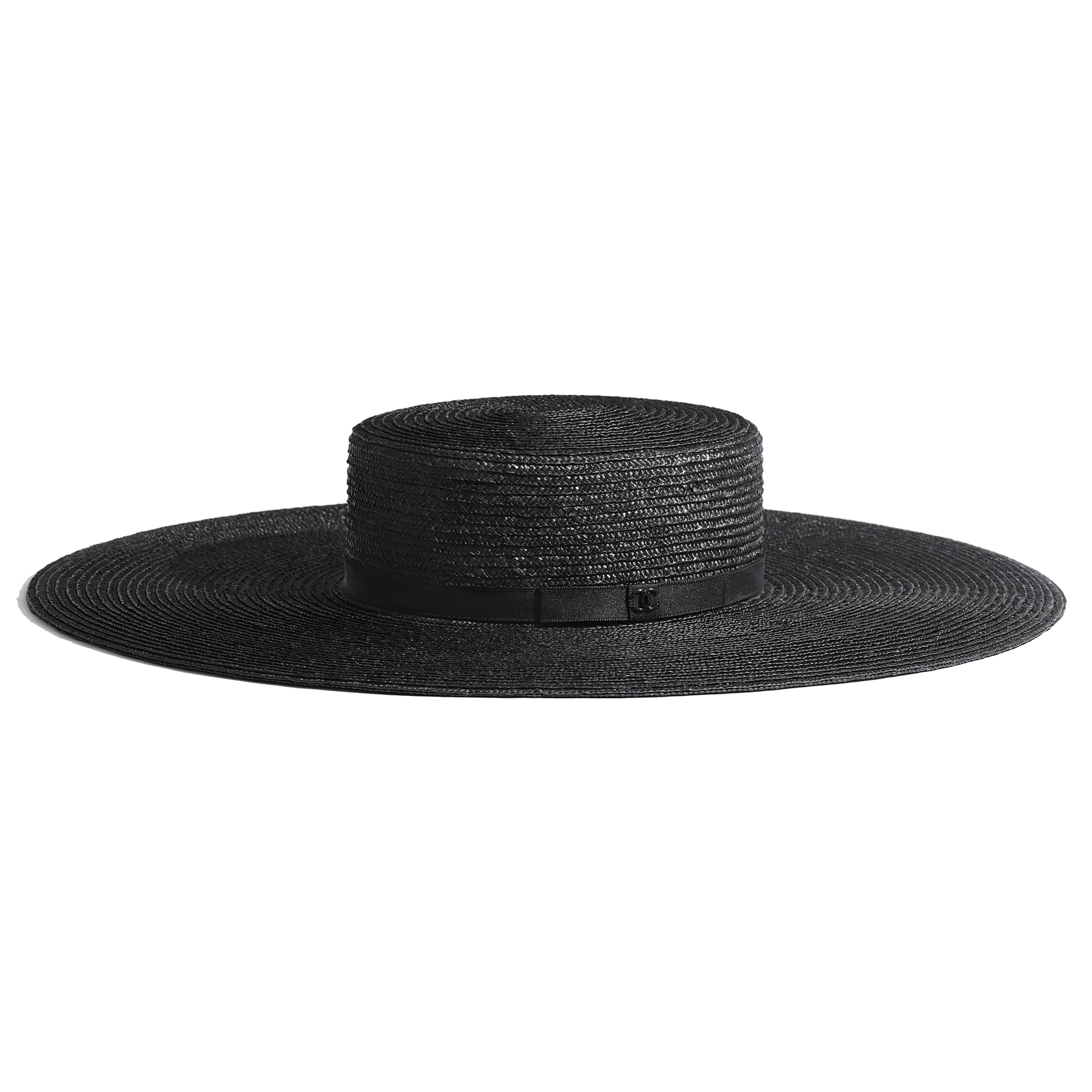 Wide-Brimmed Hat - Black - Straw & Silk - CHANEL - Default view - see standard sized version