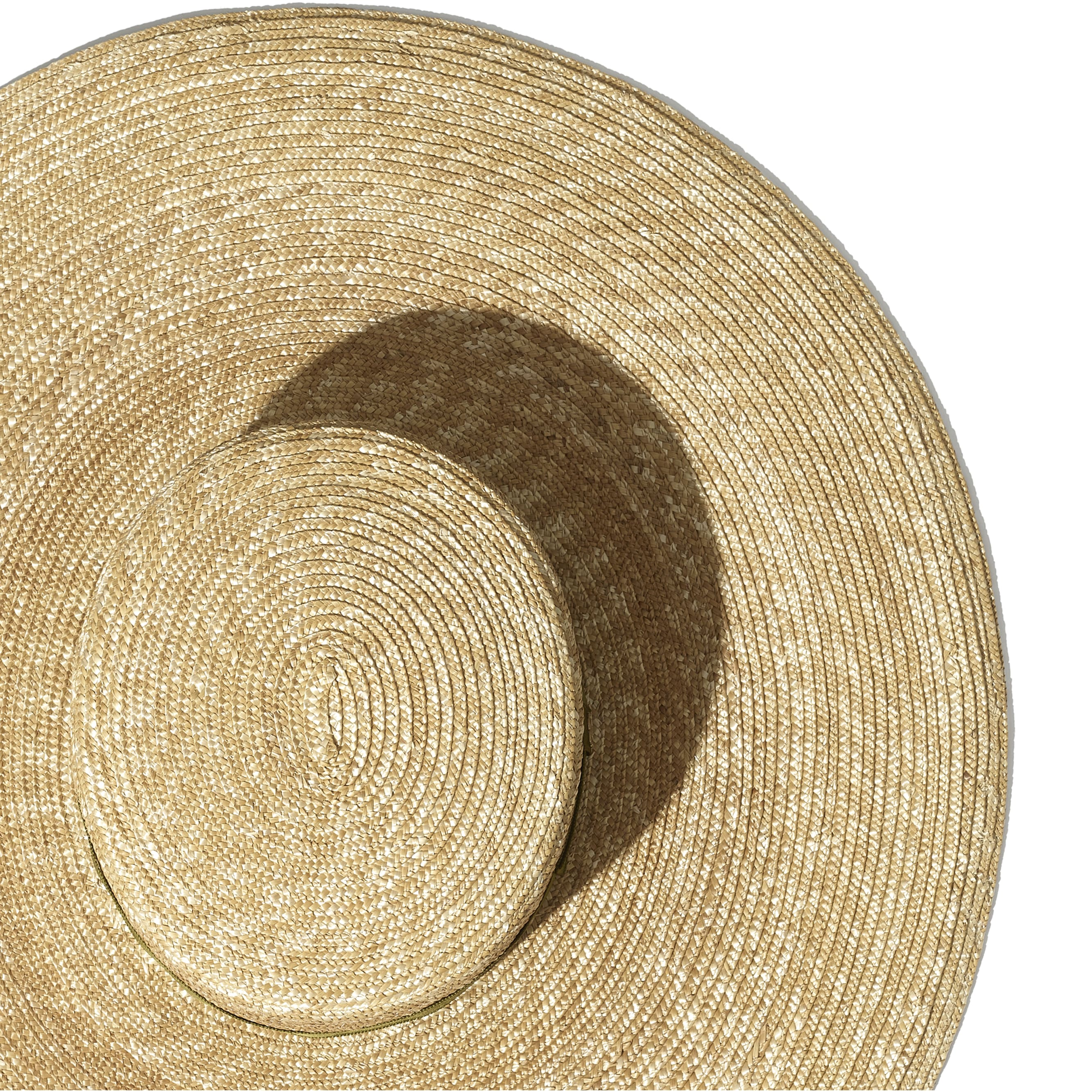 Wide Brimmed Hat - Ivory & Khaki - Straw & Silk - Alternative view - see standard sized version