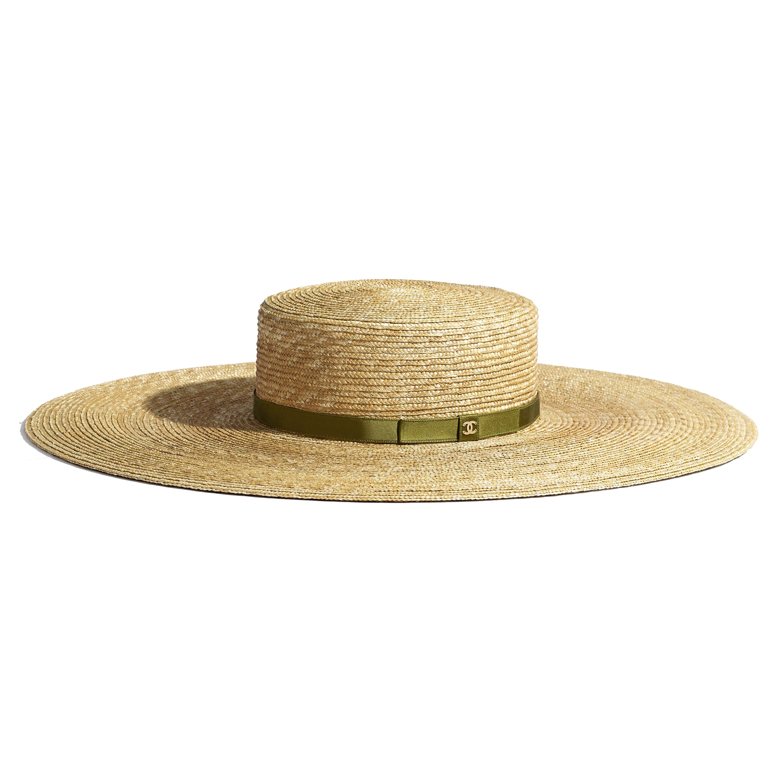 Wide Brimmed Hat - Ivory & Khaki - Straw & Silk - Default view - see standard sized version